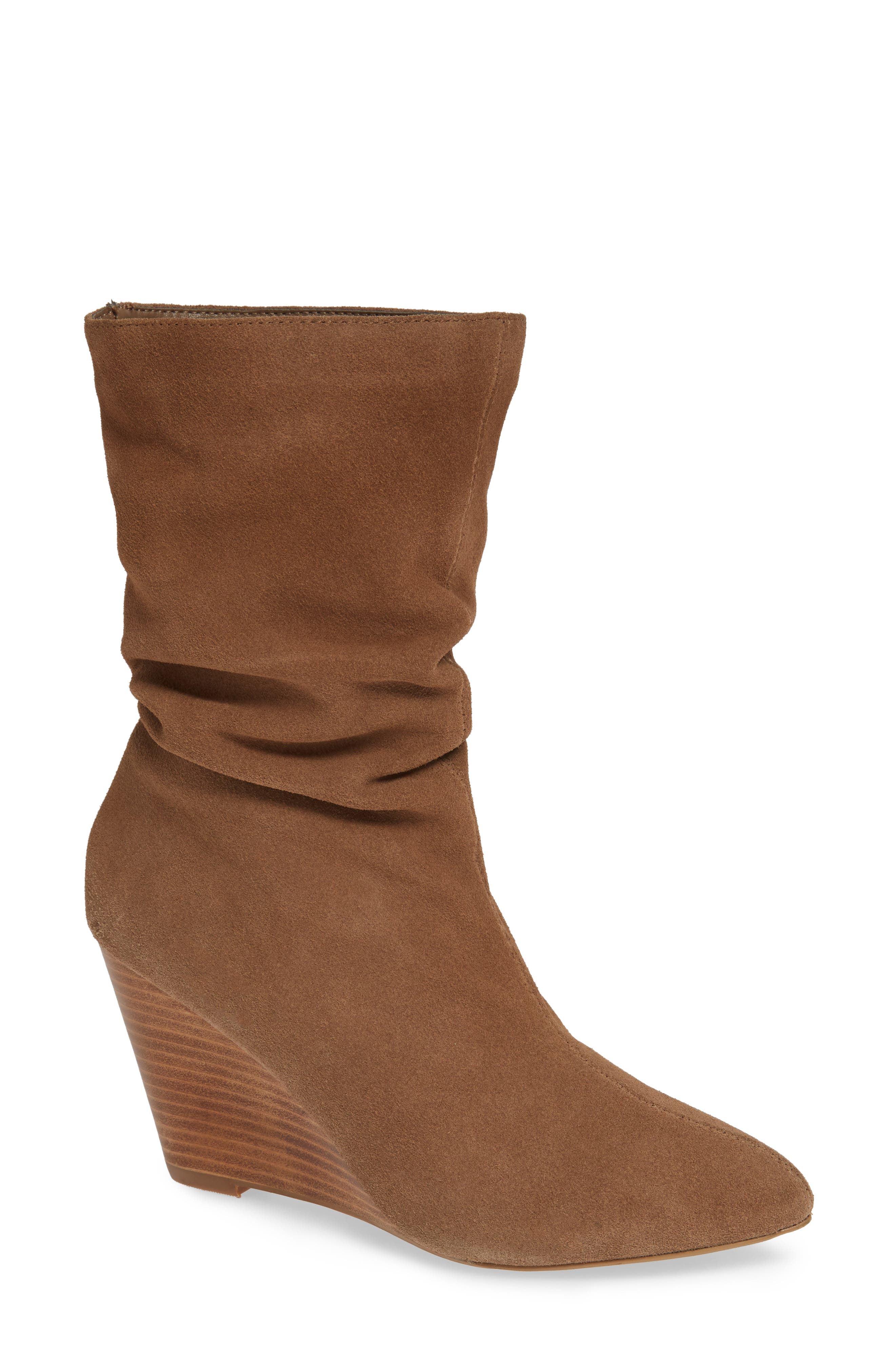 CHARLES BY CHARLES DAVID, Edell Slouchy Wedge Boot, Main thumbnail 1, color, TAUPE SUEDE