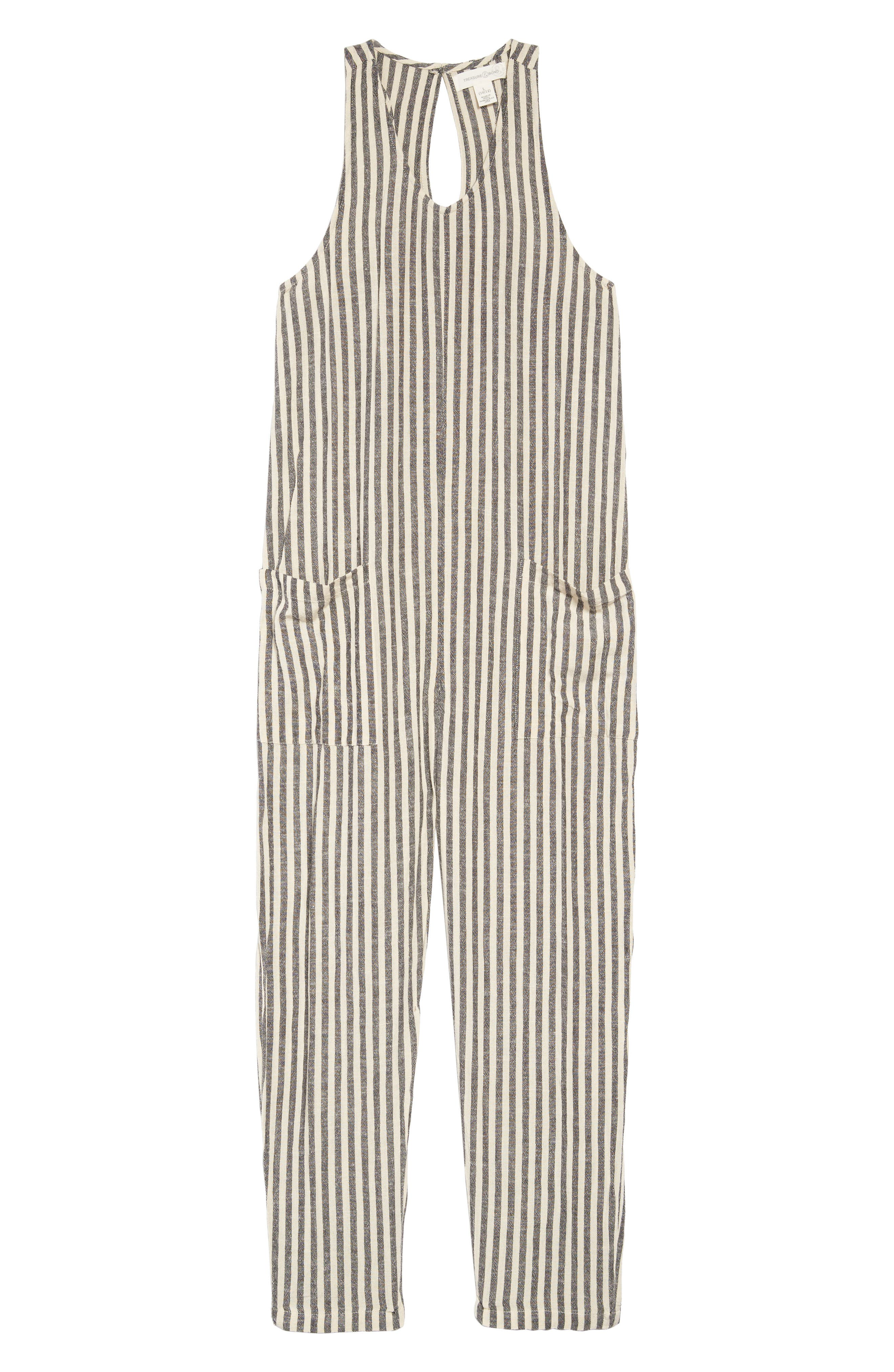 TREASURE & BOND, Stripe Jumpsuit, Main thumbnail 1, color, IVORY- BLACK EVEN STRIPE