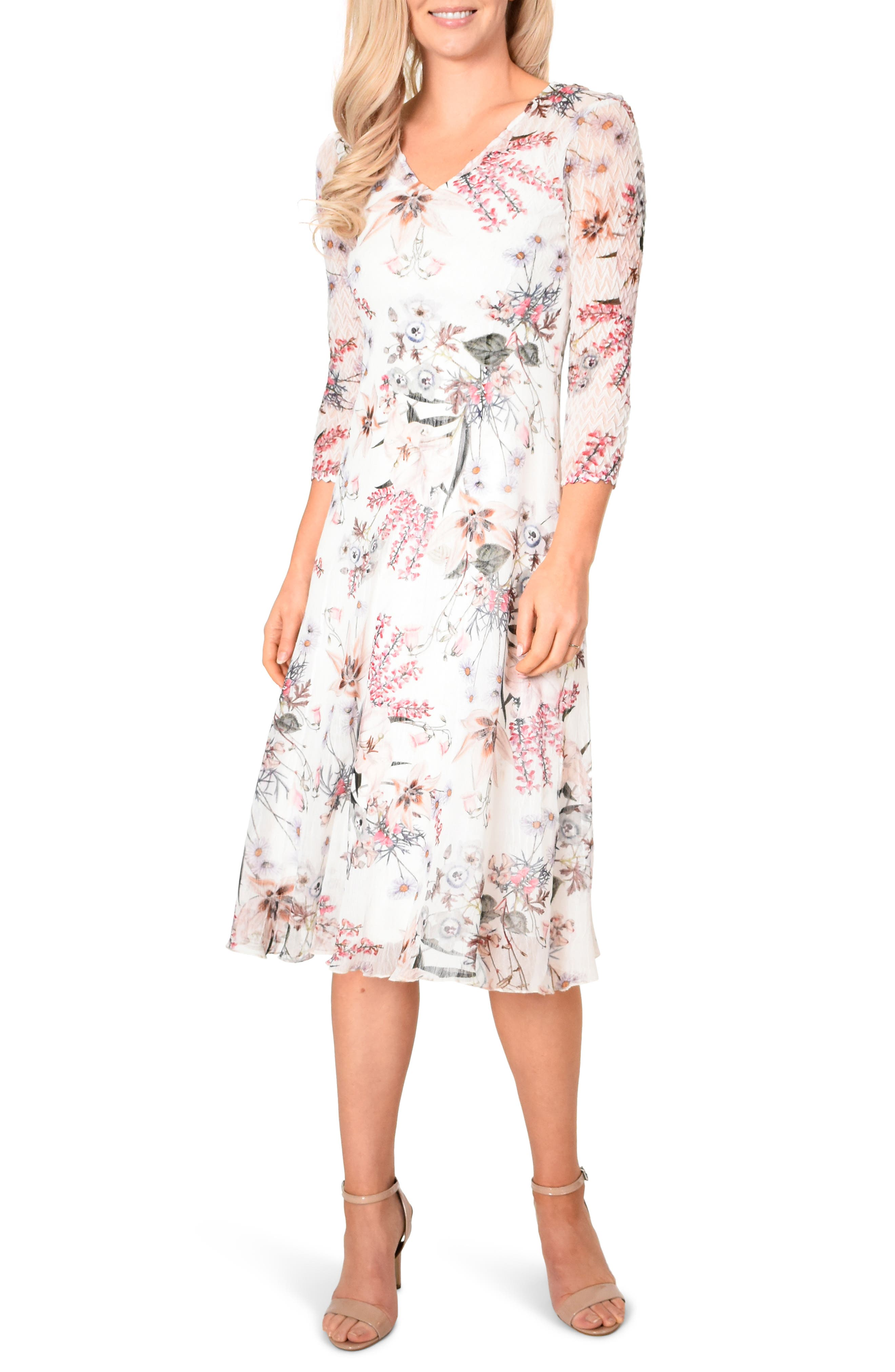 KOMAROV, Floral Chiffon MIdi Dress, Main thumbnail 1, color, SPRING ORCHARD
