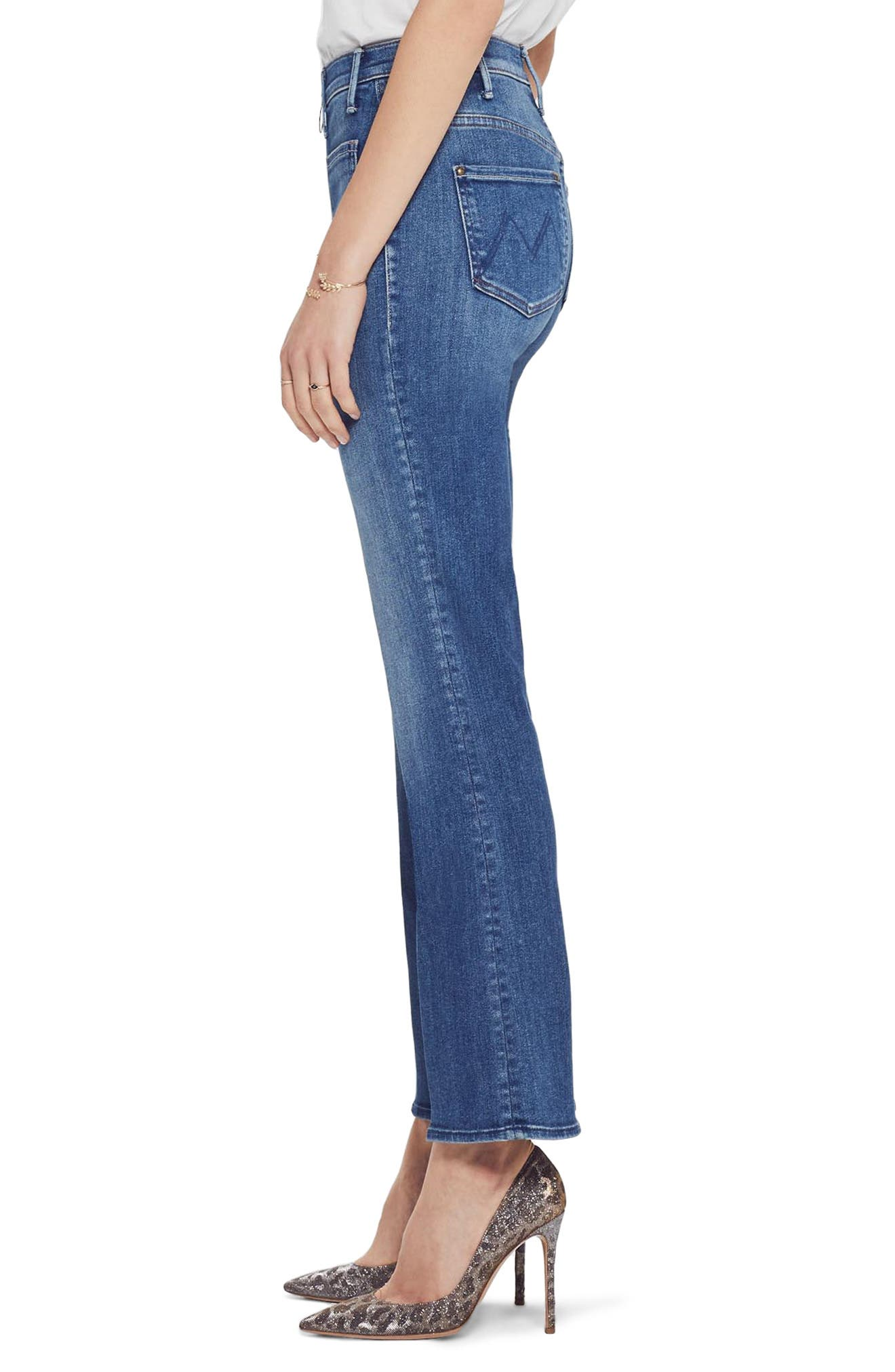 MOTHER, The Insider High Waist Patch Crop Bootcut Jeans, Alternate thumbnail 4, color, SATISFACTION GUARANTEED