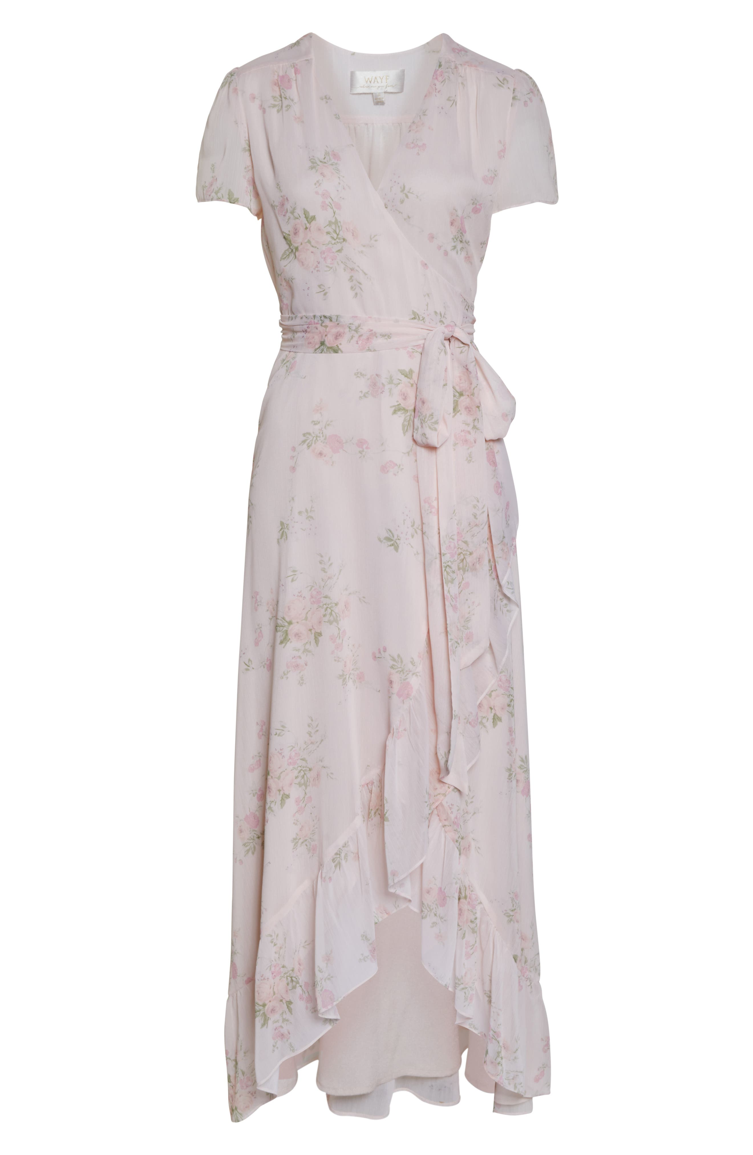 WAYF, The Natasha Floral Wrap Maxi Dress, Alternate thumbnail 7, color, 250