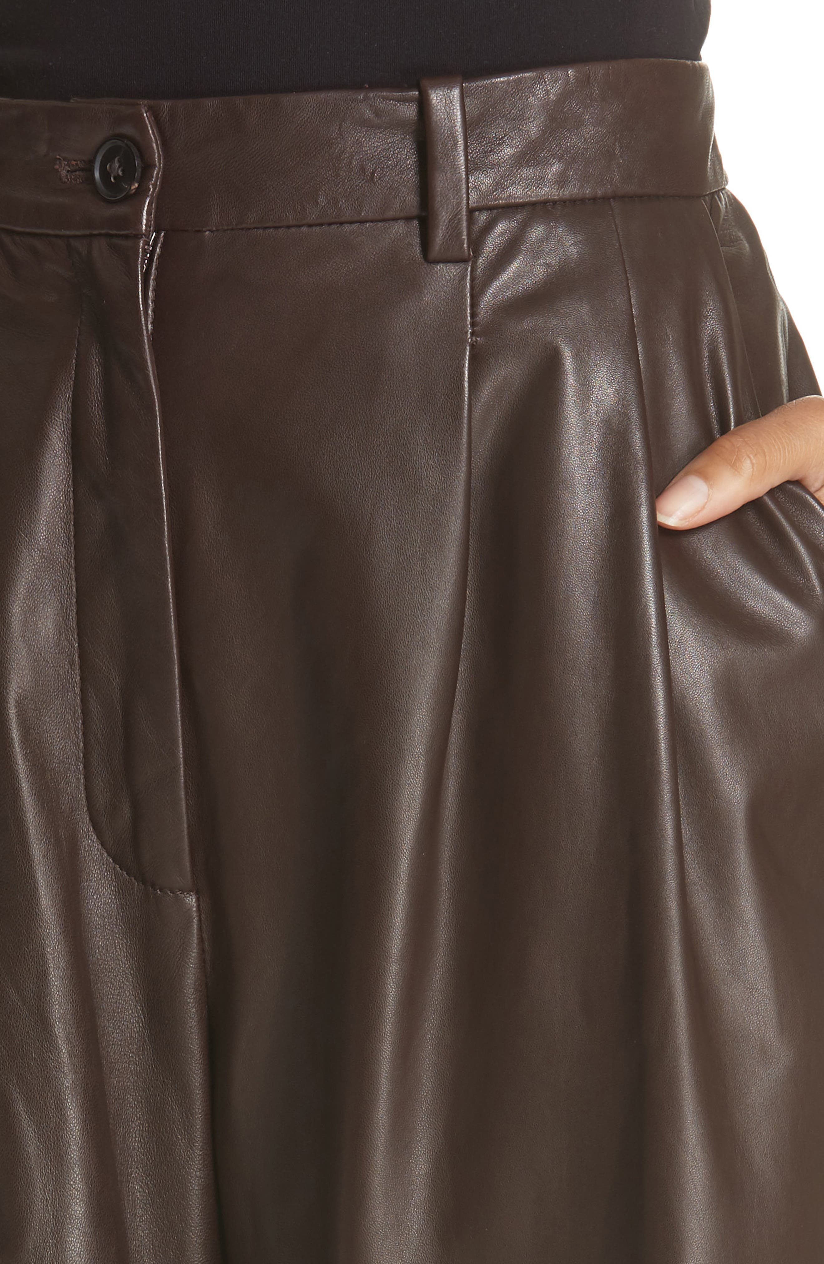 NILI LOTAN, Nico Leather Pants, Alternate thumbnail 4, color, BROWN