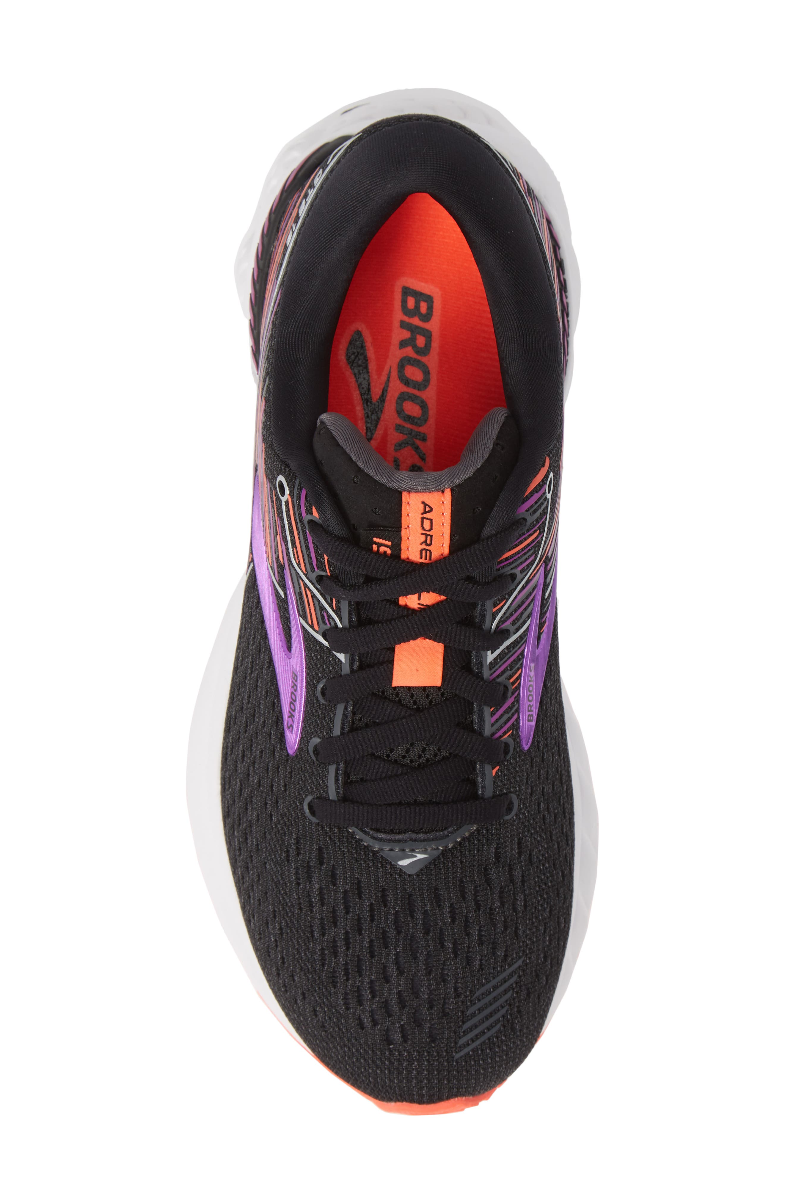 BROOKS, Adrenaline GTS 19 Running Shoe, Alternate thumbnail 5, color, BLACK/ PURPLE/ CORAL