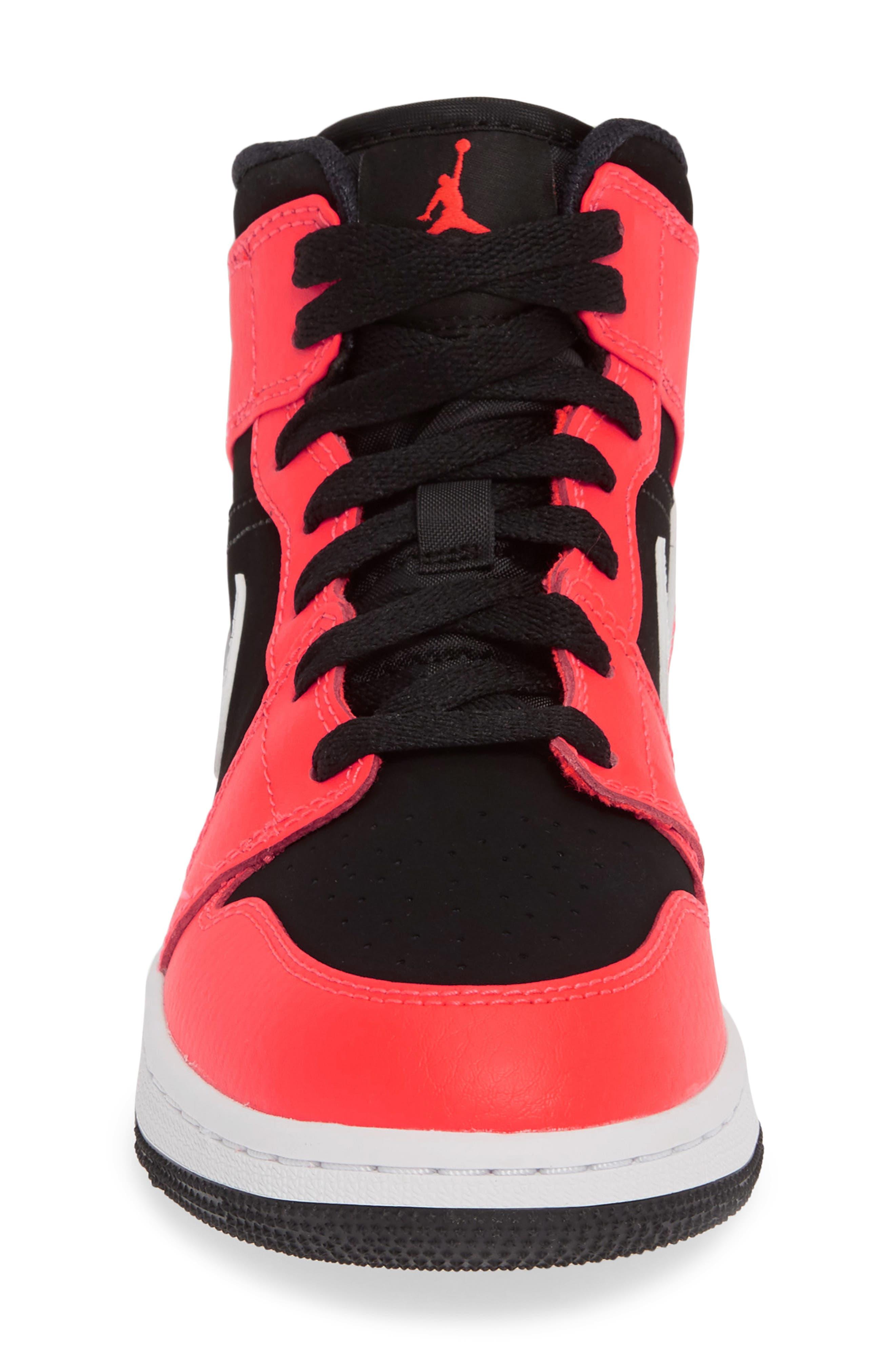 JORDAN, Nike 'Air Jordan 1 Mid' Sneaker, Alternate thumbnail 4, color, BLACK/ INFRARED 23-WHITE