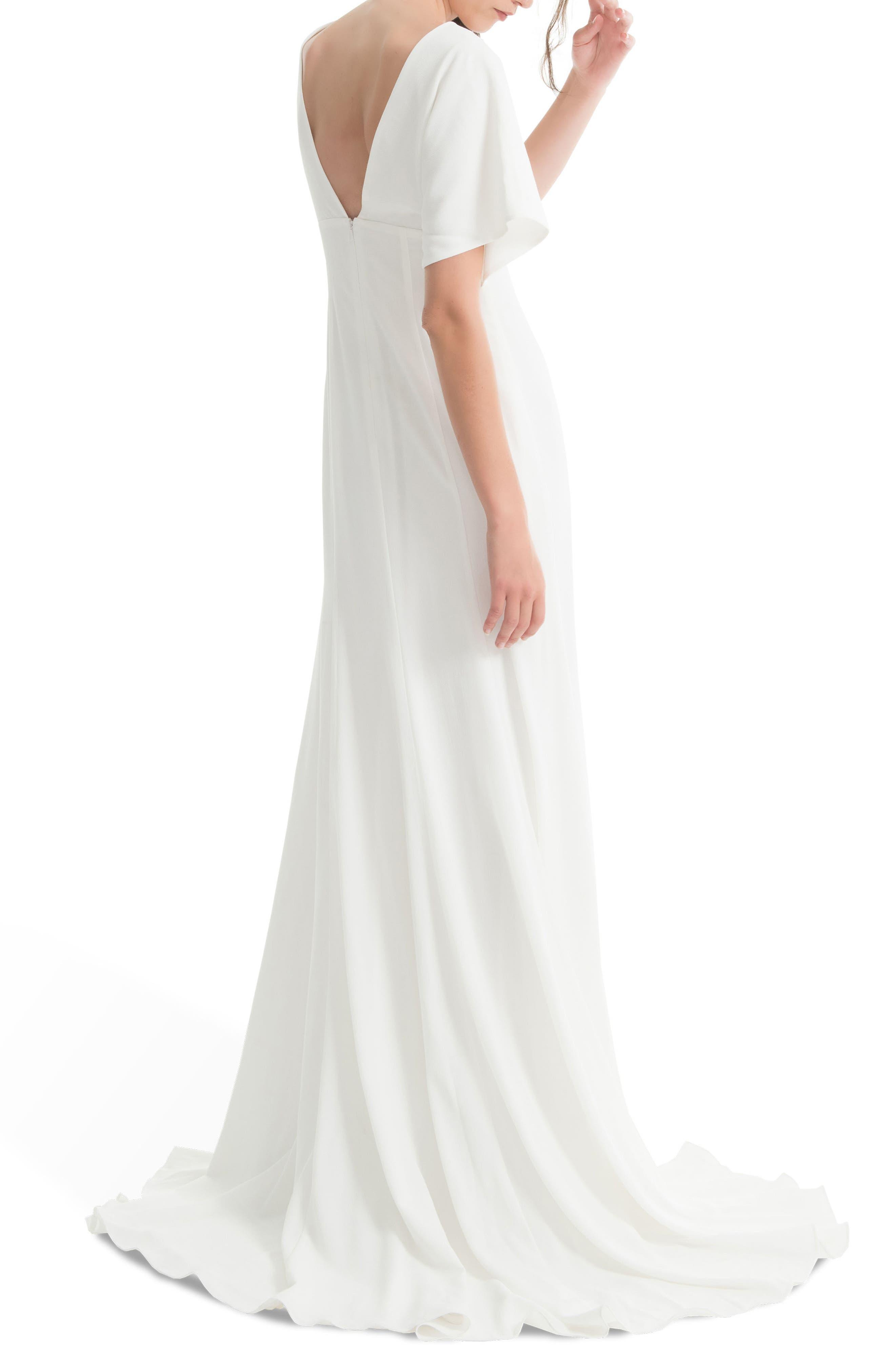 JOANNA AUGUST, Pattie Empire Waist Crepe Gown, Alternate thumbnail 2, color, WHITE