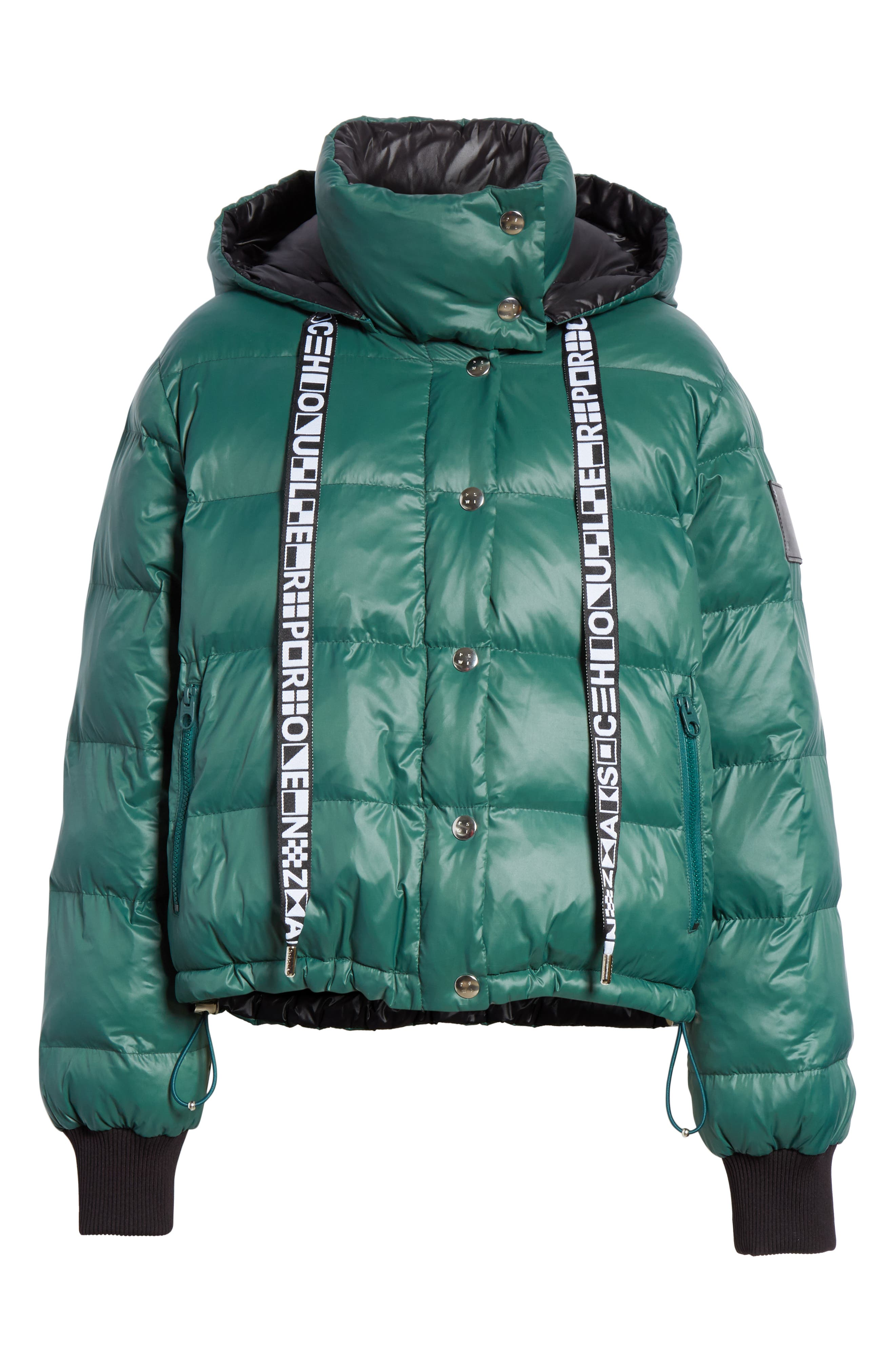 PROENZA SCHOULER, PSWL Reversible Puffer Coat, Alternate thumbnail 7, color, GREEN/ BLACK