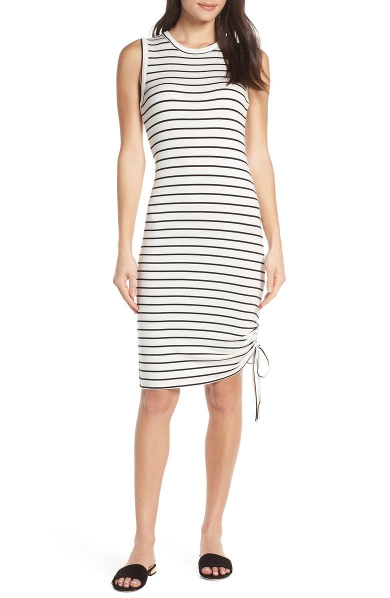 Bb Dakota Dresses WHAT'S THE RUCHE FRENCH TERRY STRIPE DRESS