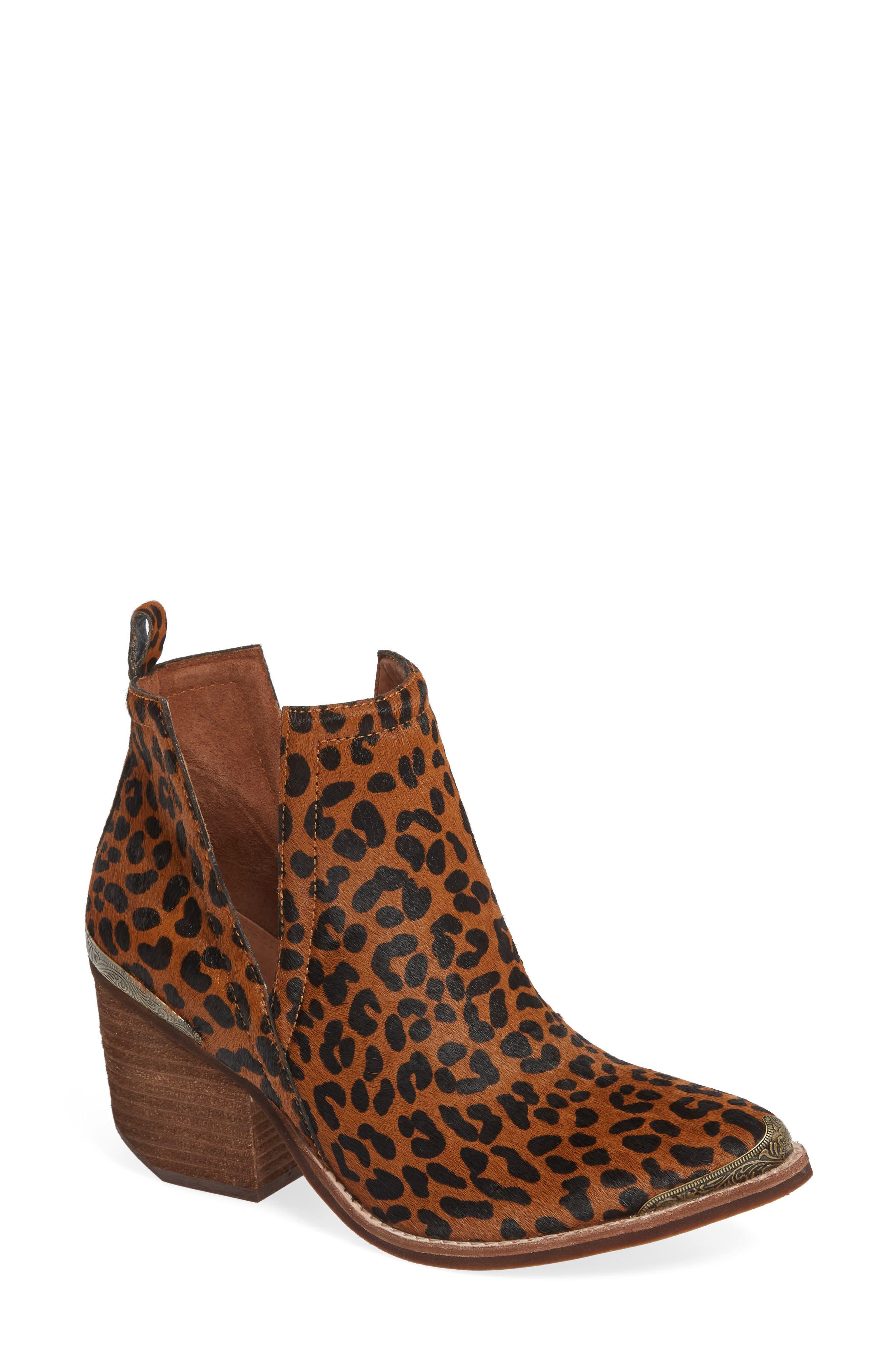 JEFFREY CAMPBELL, Cromwell Cutout Genuine Calf Hair Western Boot, Main thumbnail 1, color, BROWN CHEETAH CALF HAIR