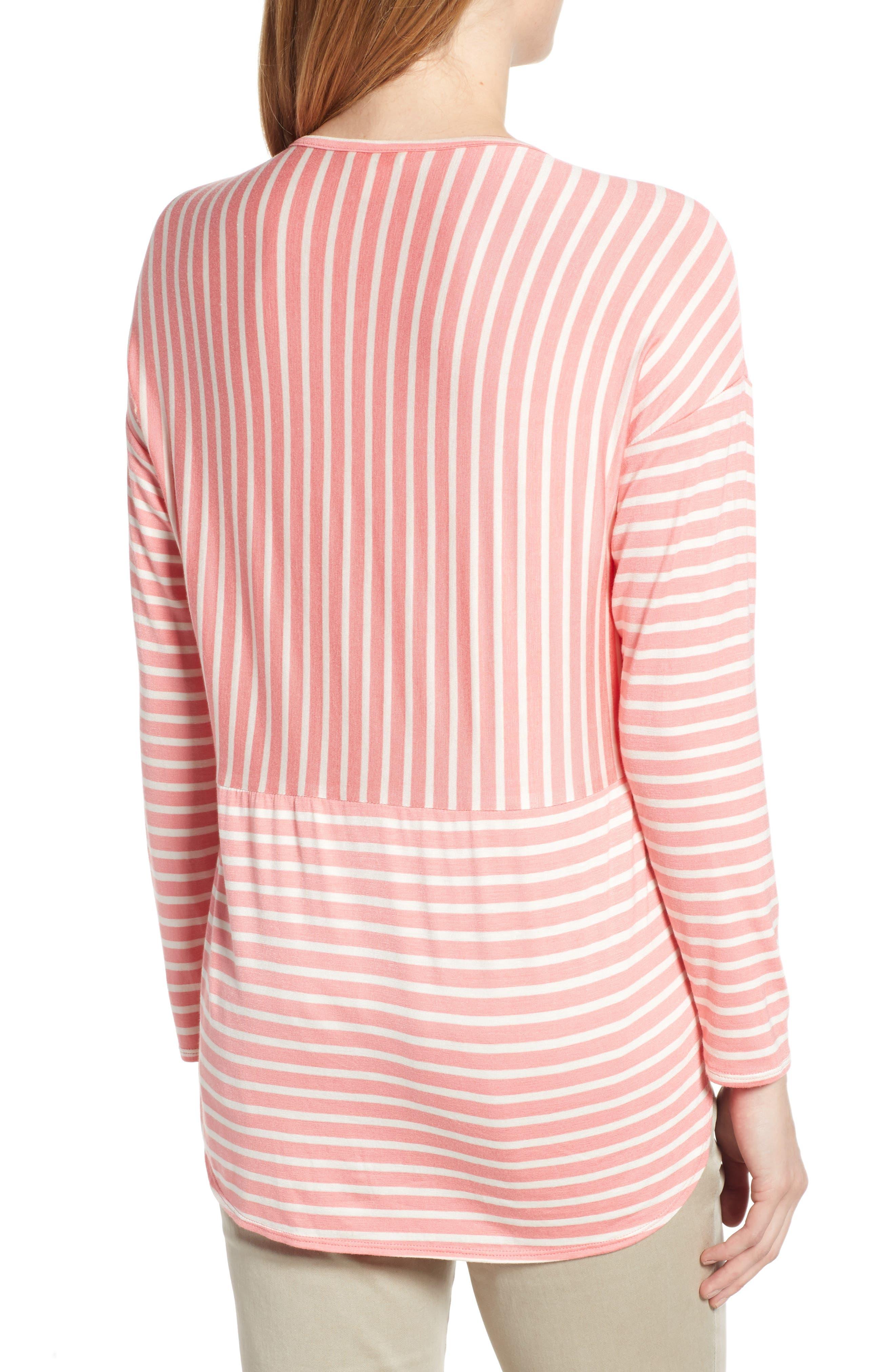 CASLON<SUP>®</SUP>, Stripe V-Neck Tee, Alternate thumbnail 2, color, CORAL- WHITE STRIPE