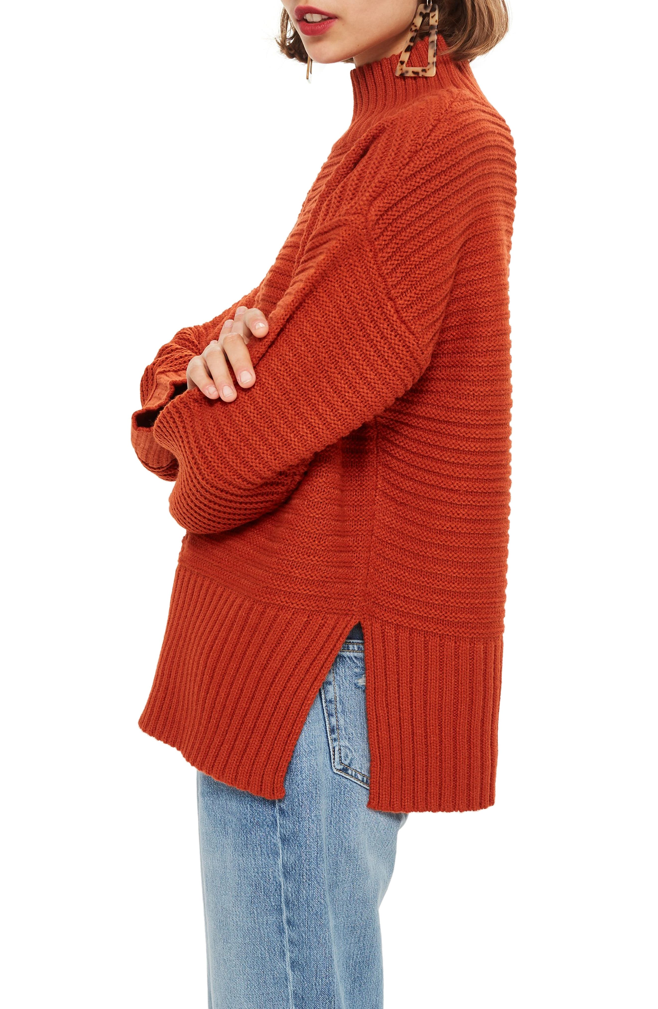 TOPSHOP, Mock Neck Sweater, Alternate thumbnail 3, color, RUST