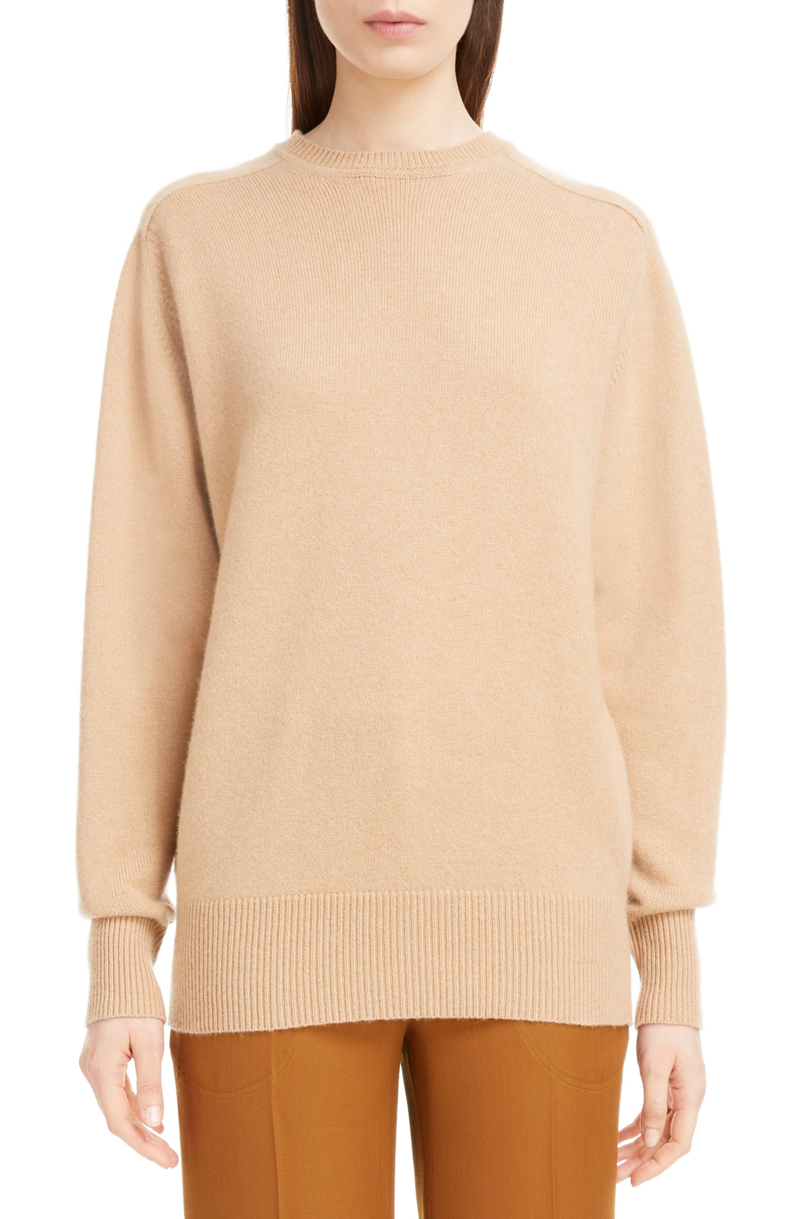 VICTORIA BECKHAM, Cashmere Blend Sweater, Main thumbnail 1, color, LIGHT CAMEL
