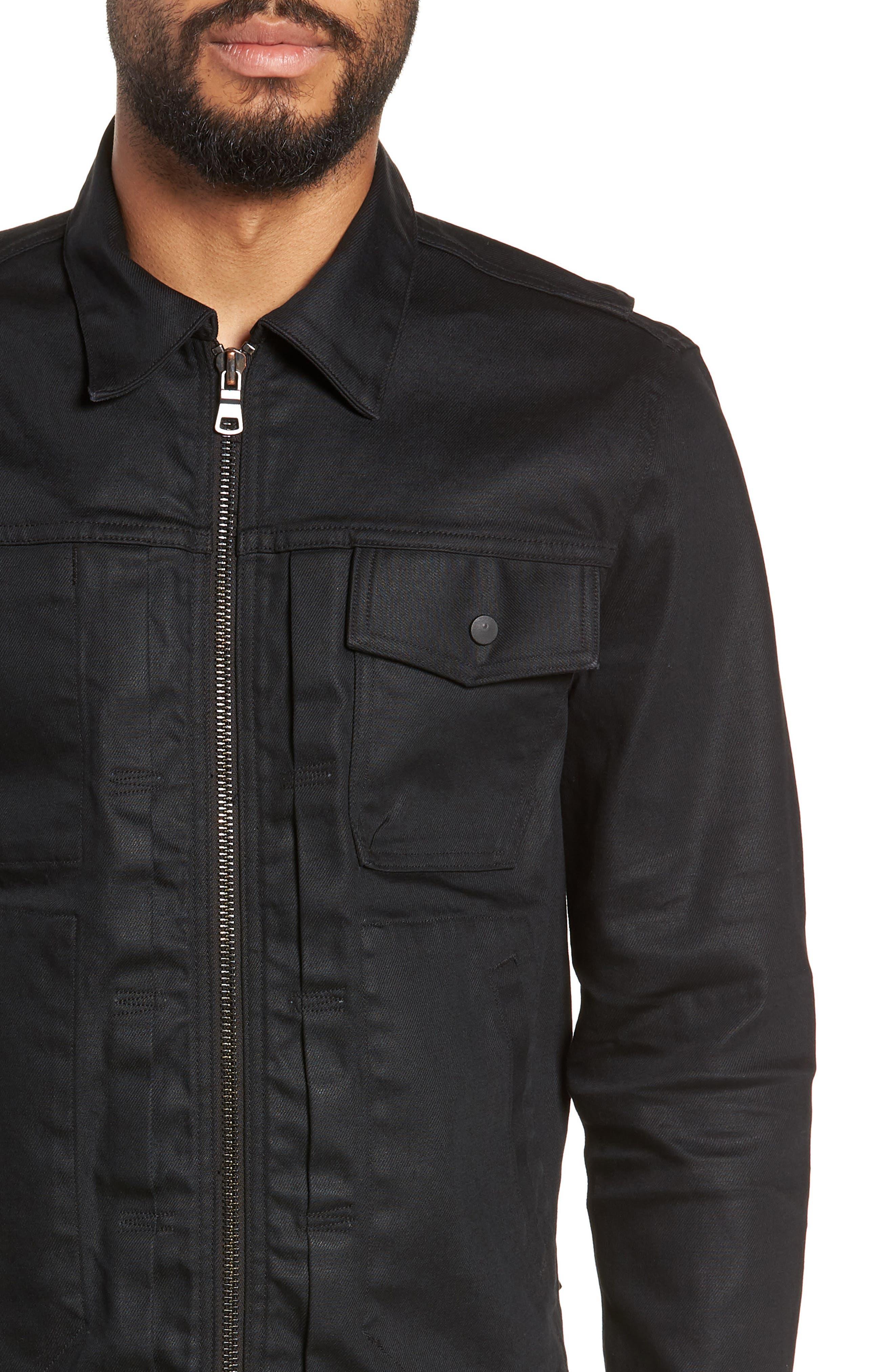 HUDSON JEANS, Zip Denim Jacket, Alternate thumbnail 4, color, ONYX