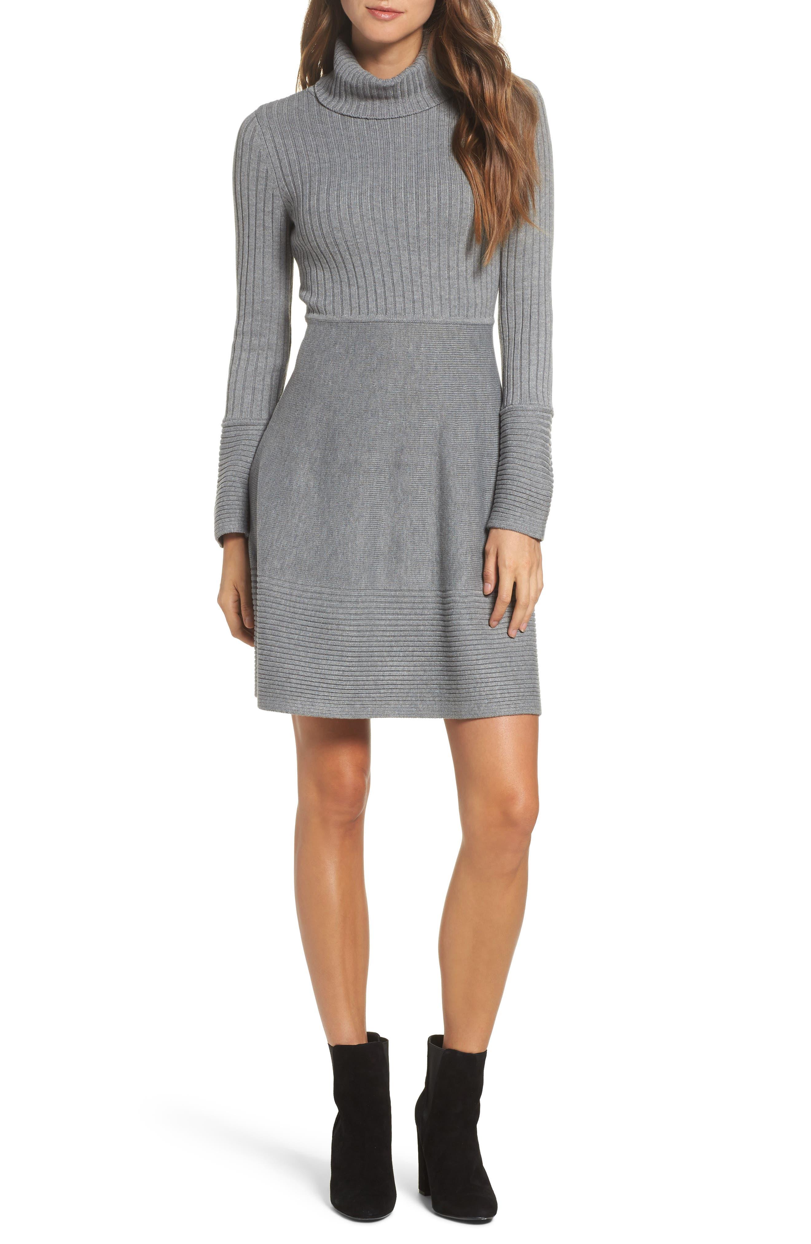 ELIZA J, Turtleneck Sweater Dress, Main thumbnail 1, color, GREY