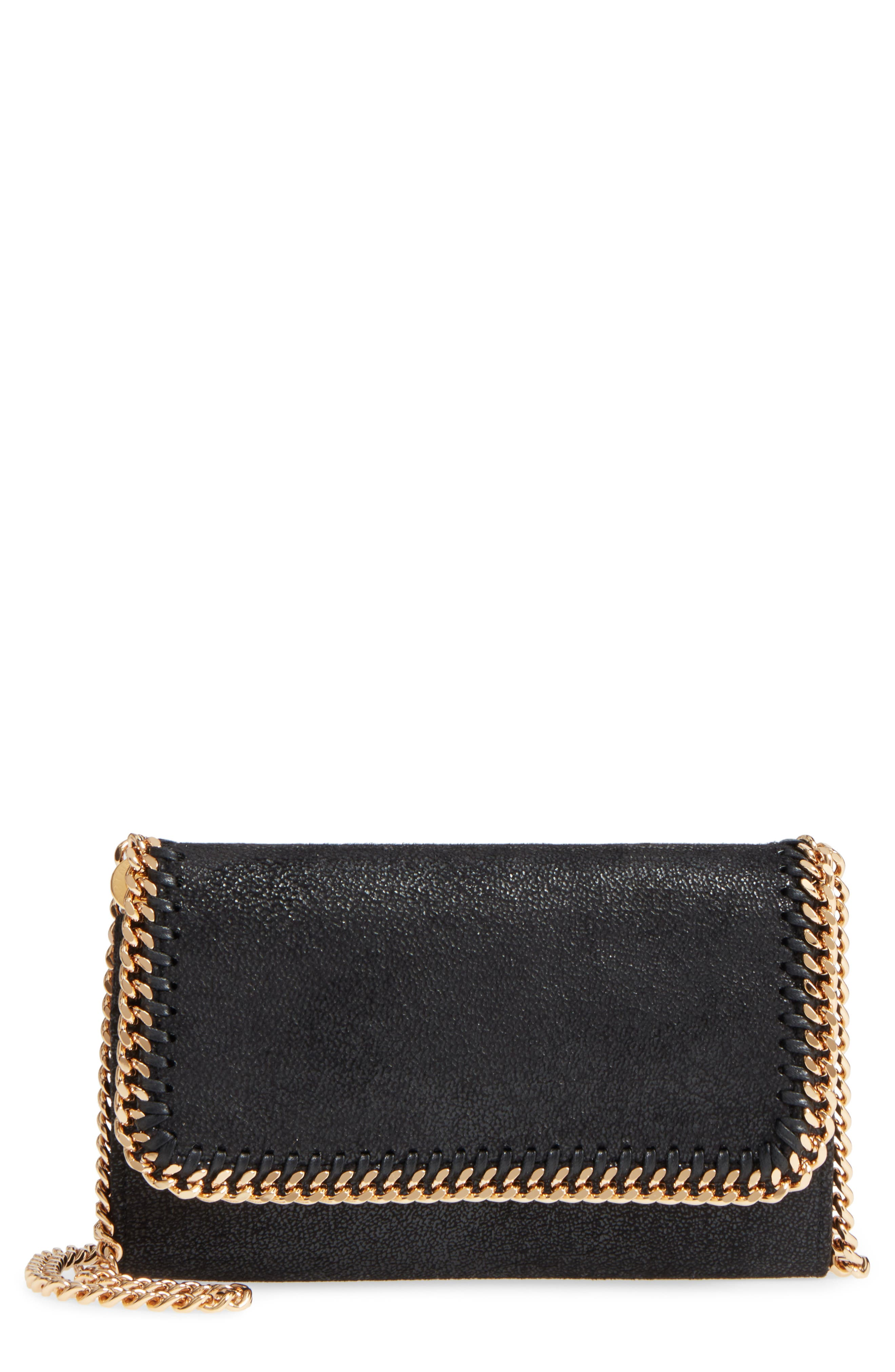STELLA MCCARTNEY Shaggy Deer Faux Leather Crossbody Bag, Main, color, BLACK