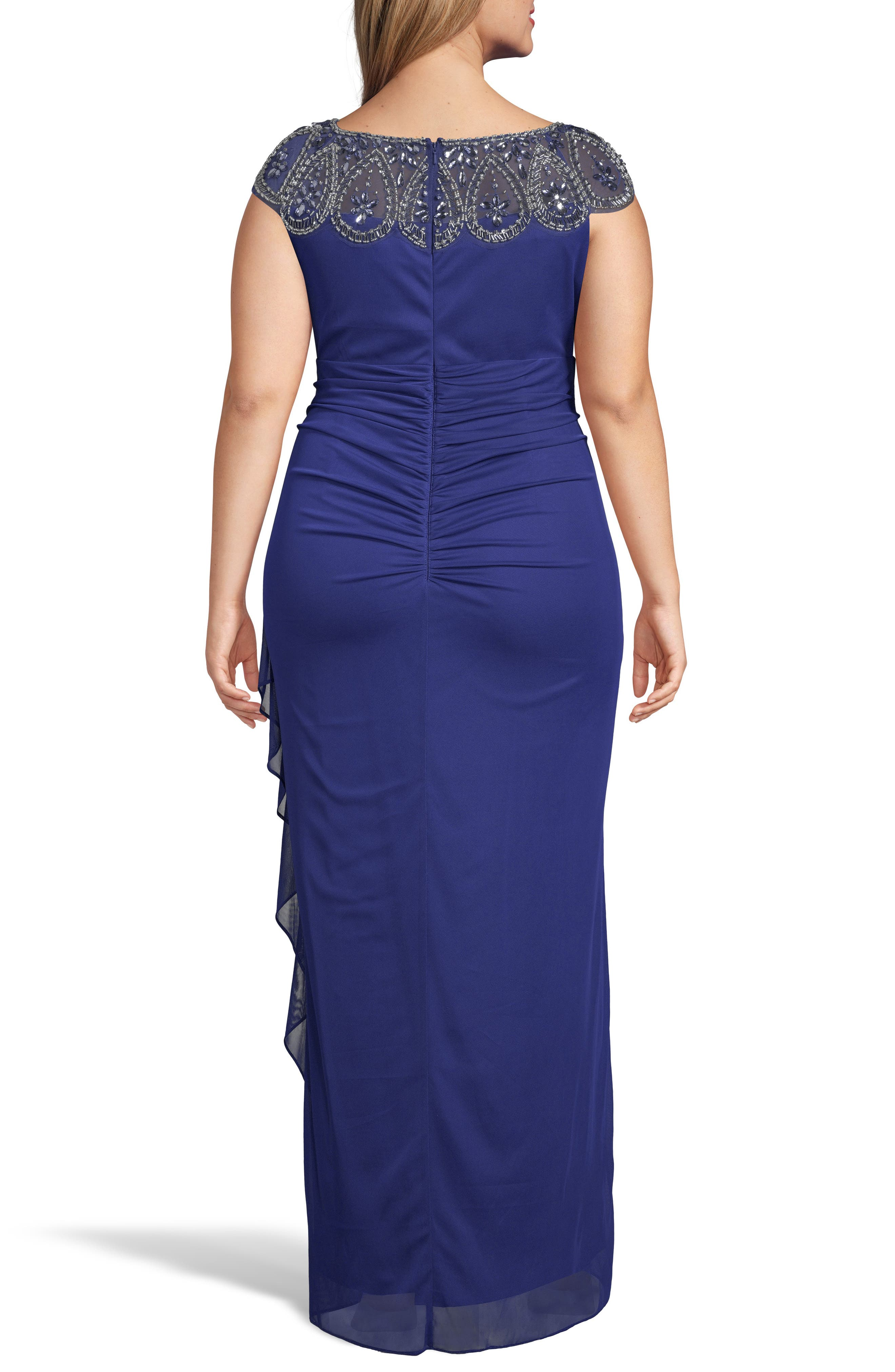 XSCAPE, Beaded Neck Empire Gown, Alternate thumbnail 2, color, ROYAL