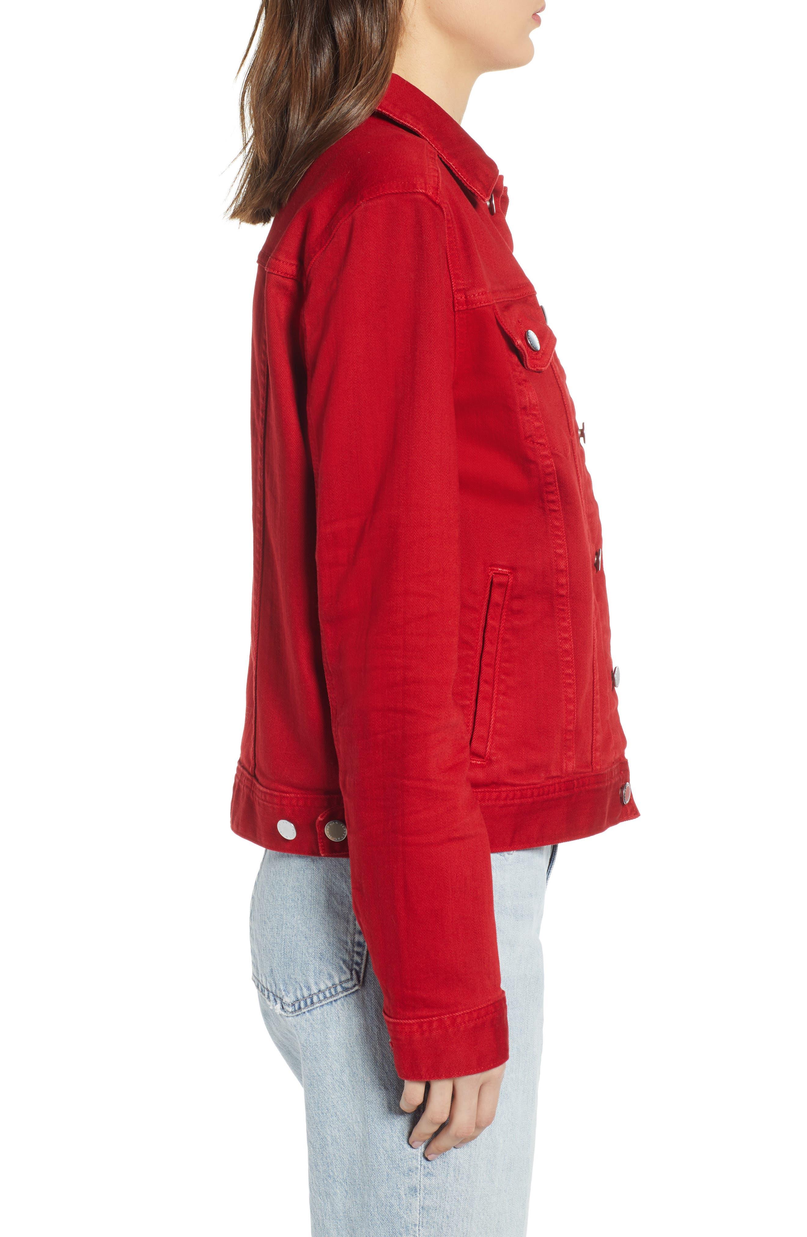 AG, Mya Denim Jacket, Alternate thumbnail 4, color, 01Y HI WHITE CLEVER RED