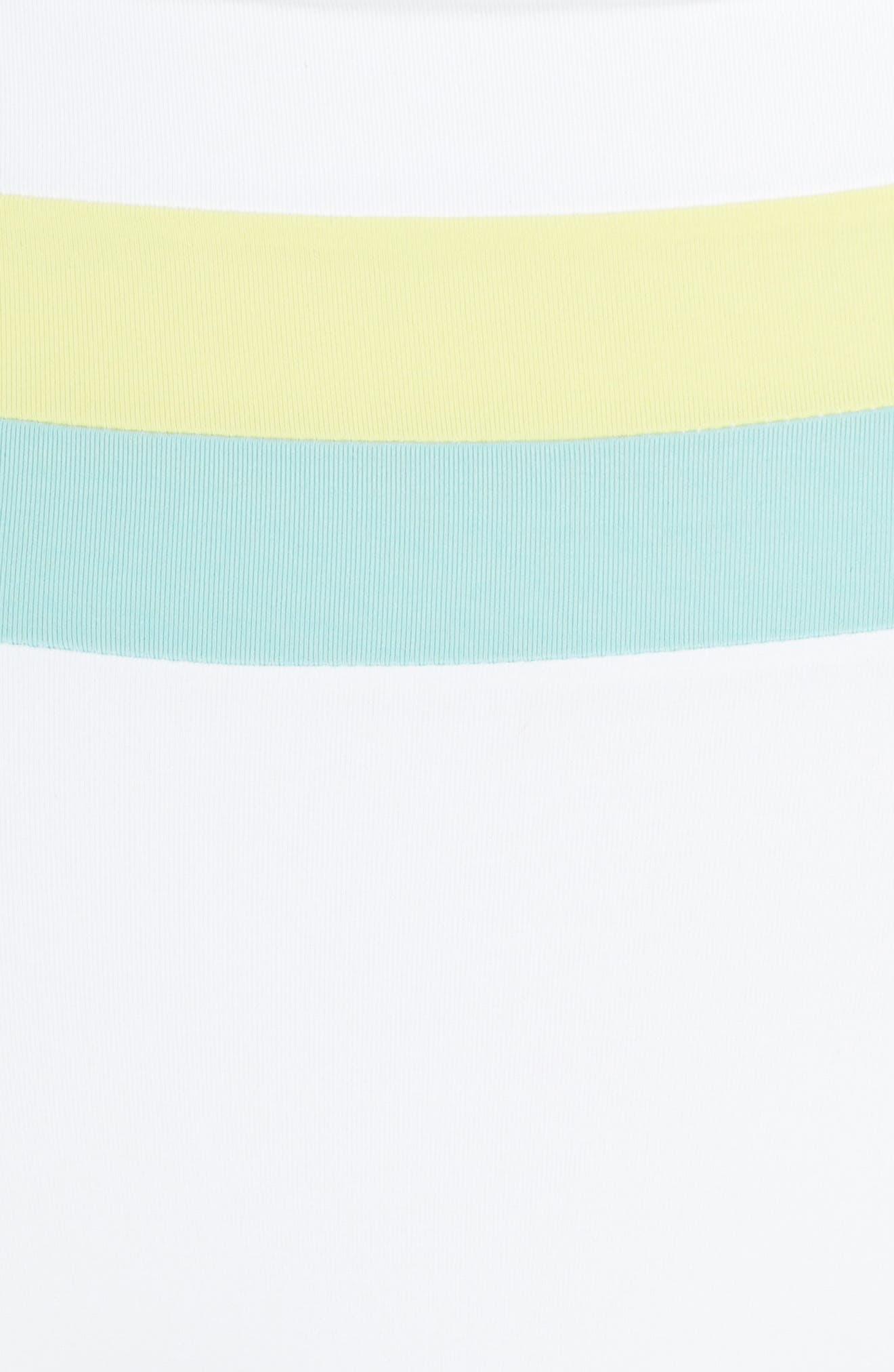 L SPACE, Portia Reversible High Waist Bikini Bottoms, Alternate thumbnail 6, color, WHITE/ LIGHT TURQ/ LEMONADE