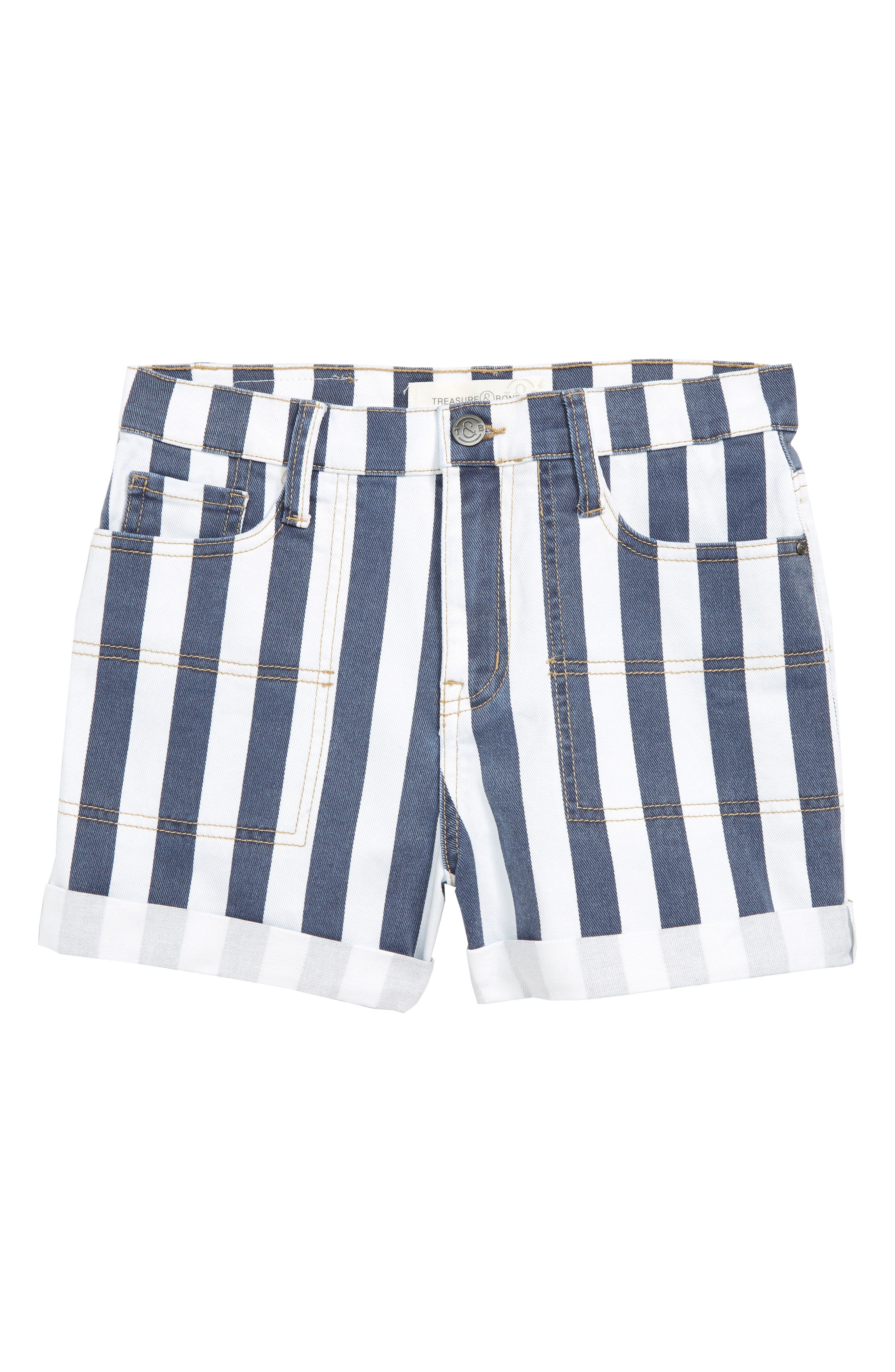 TREASURE & BOND, Stripe High Waist Vintage Denim Shorts, Main thumbnail 1, color, BAND WASH