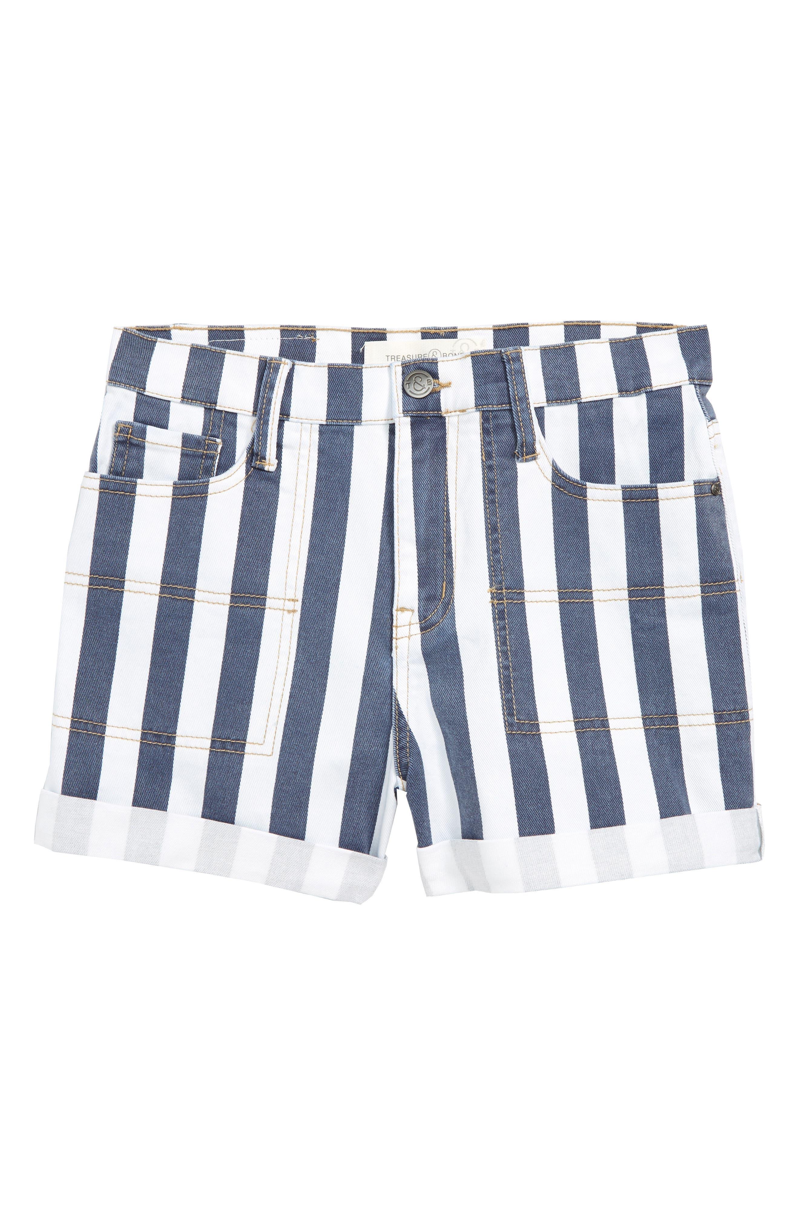 TREASURE & BOND Stripe High Waist Vintage Denim Shorts, Main, color, BAND WASH