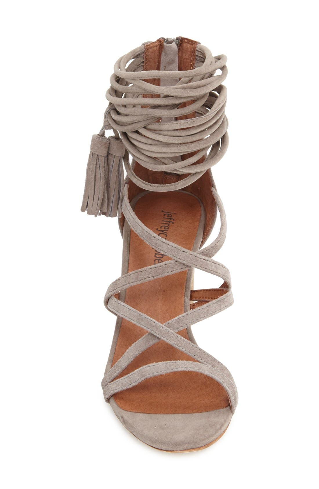 JEFFREY CAMPBELL, 'Despina' Strappy Sandal, Alternate thumbnail 4, color, TAUPE SUEDE