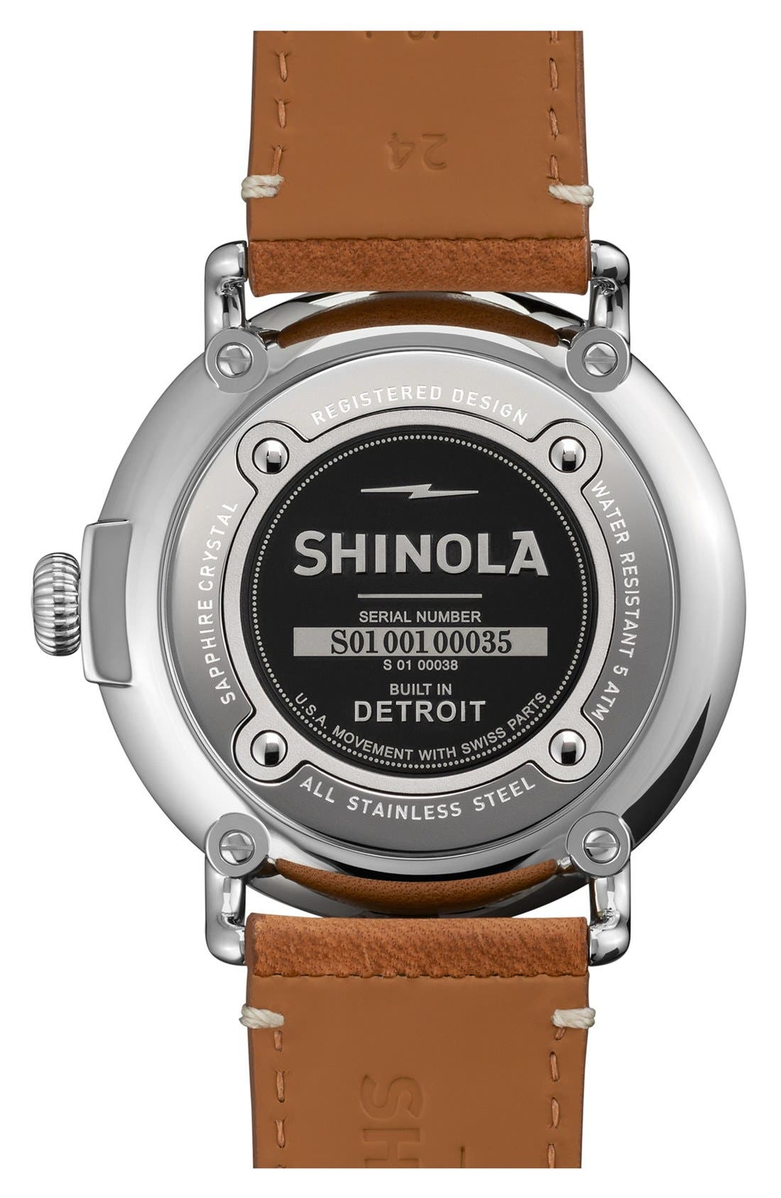 SHINOLA, 'The Runwell' Leather Strap Watch, 47mm, Alternate thumbnail 2, color, BROWN/ GREEN