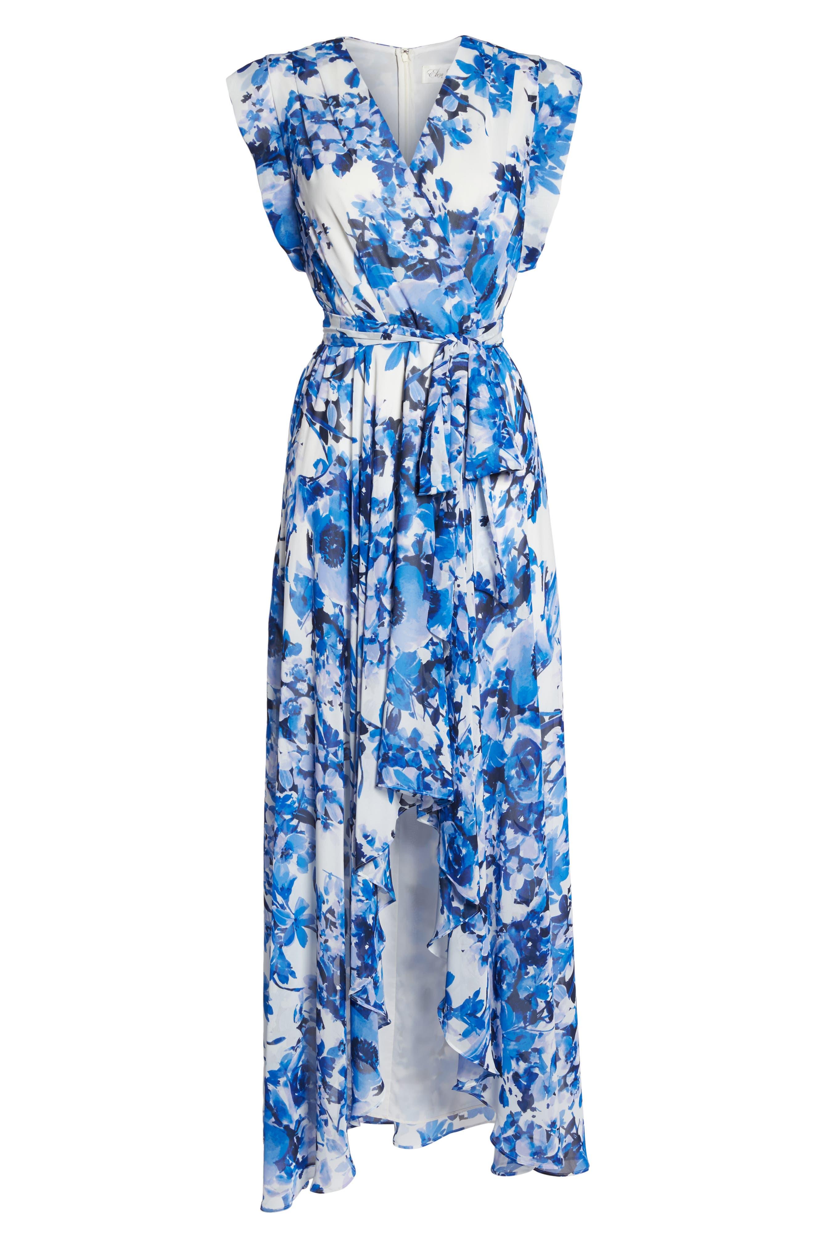 ELIZA J, Floral Ruffle High/Low Maxi Dress, Alternate thumbnail 7, color, BLUE