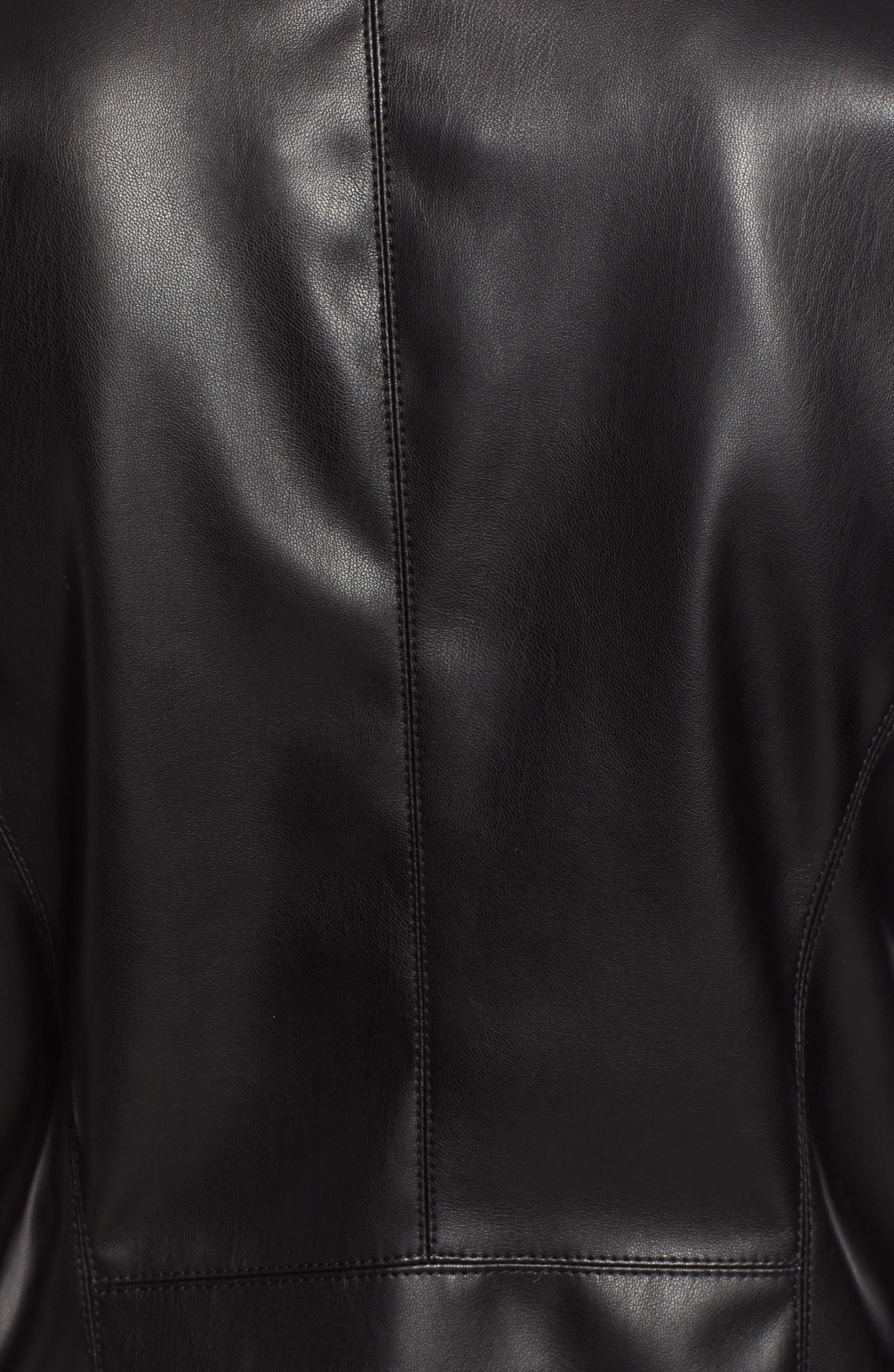 HALOGEN<SUP>®</SUP>, Drape Faux Leather Jacket, Alternate thumbnail 7, color, BLACK
