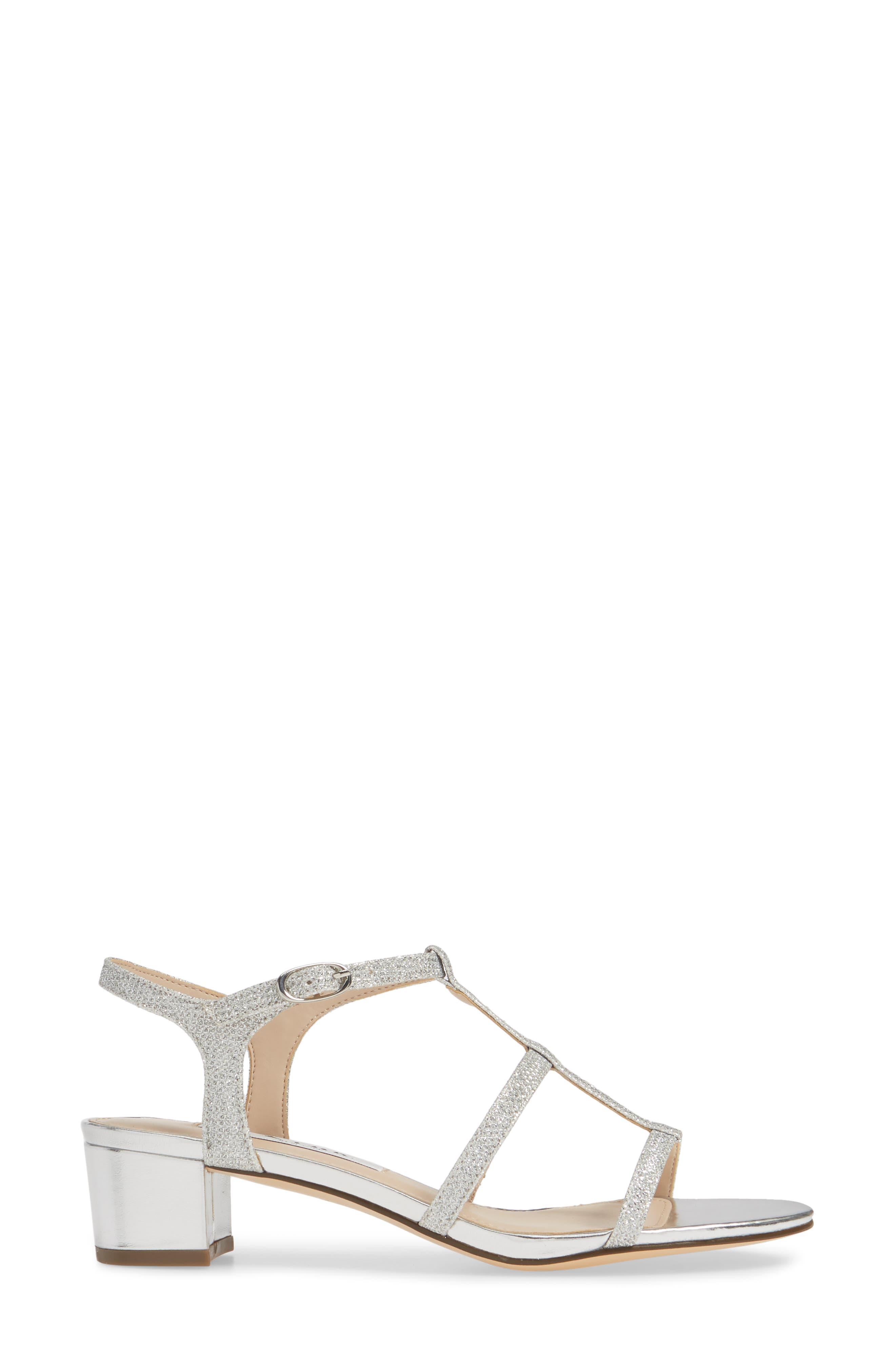 NINA, Gelisa T-Strap Sandal, Alternate thumbnail 3, color, SILVER FABRIC