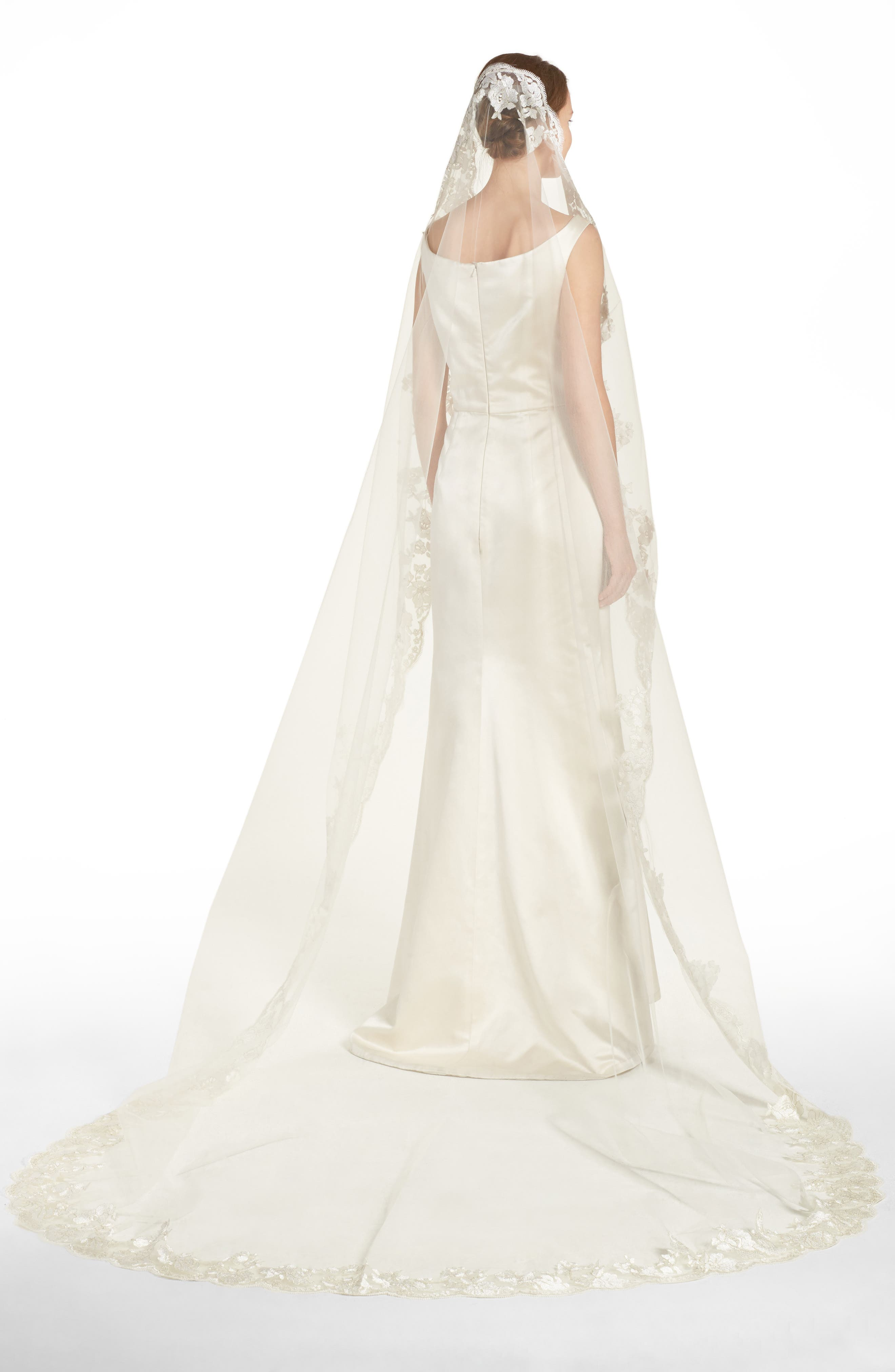 BRIDES & HAIRPINS Florentina Embroidered Cathedral Veil, Main, color, IVORY
