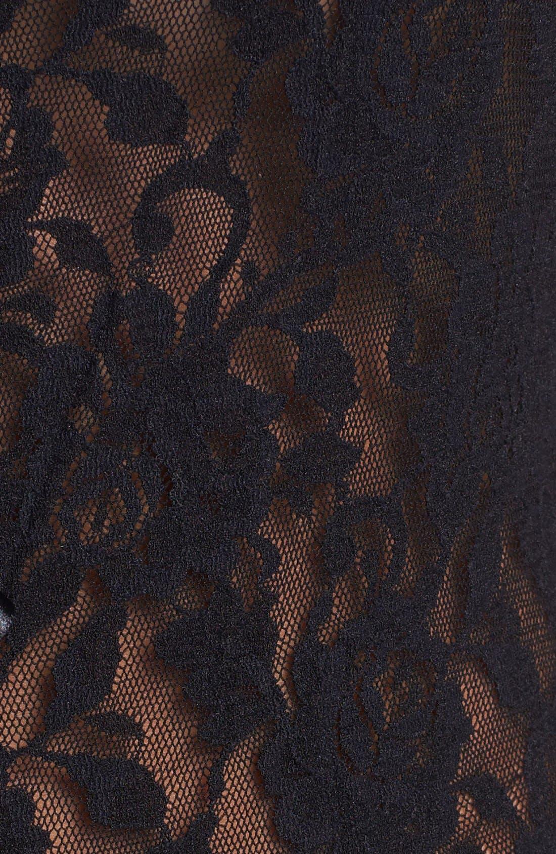 HANKY PANKY, 'Signature Lace' Open Gusset Teddy, Alternate thumbnail 8, color, BLACK