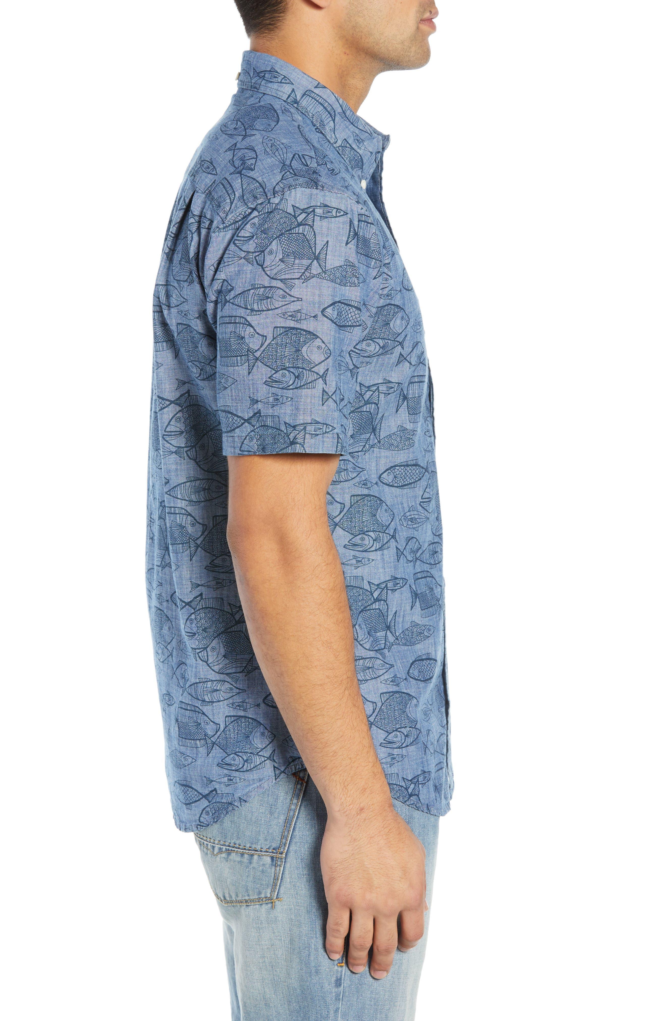 REYN SPOONER, Kauhulu Tailored Fit Sport Shirt, Alternate thumbnail 4, color, CHAMBRAY BLUE