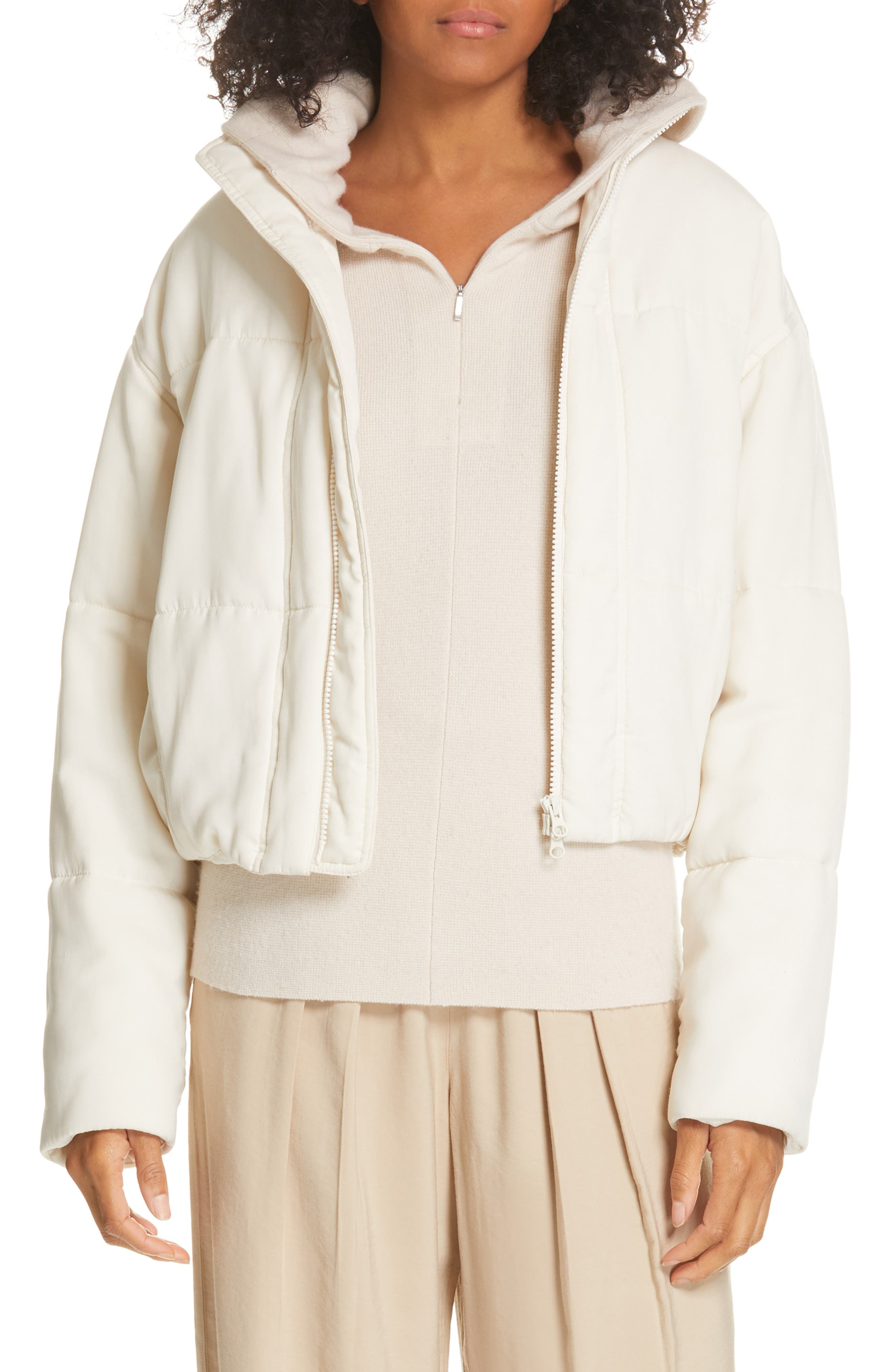 VINCE, Soft Baffle Quilted Bomber Jacket, Main thumbnail 1, color, PAMPAS
