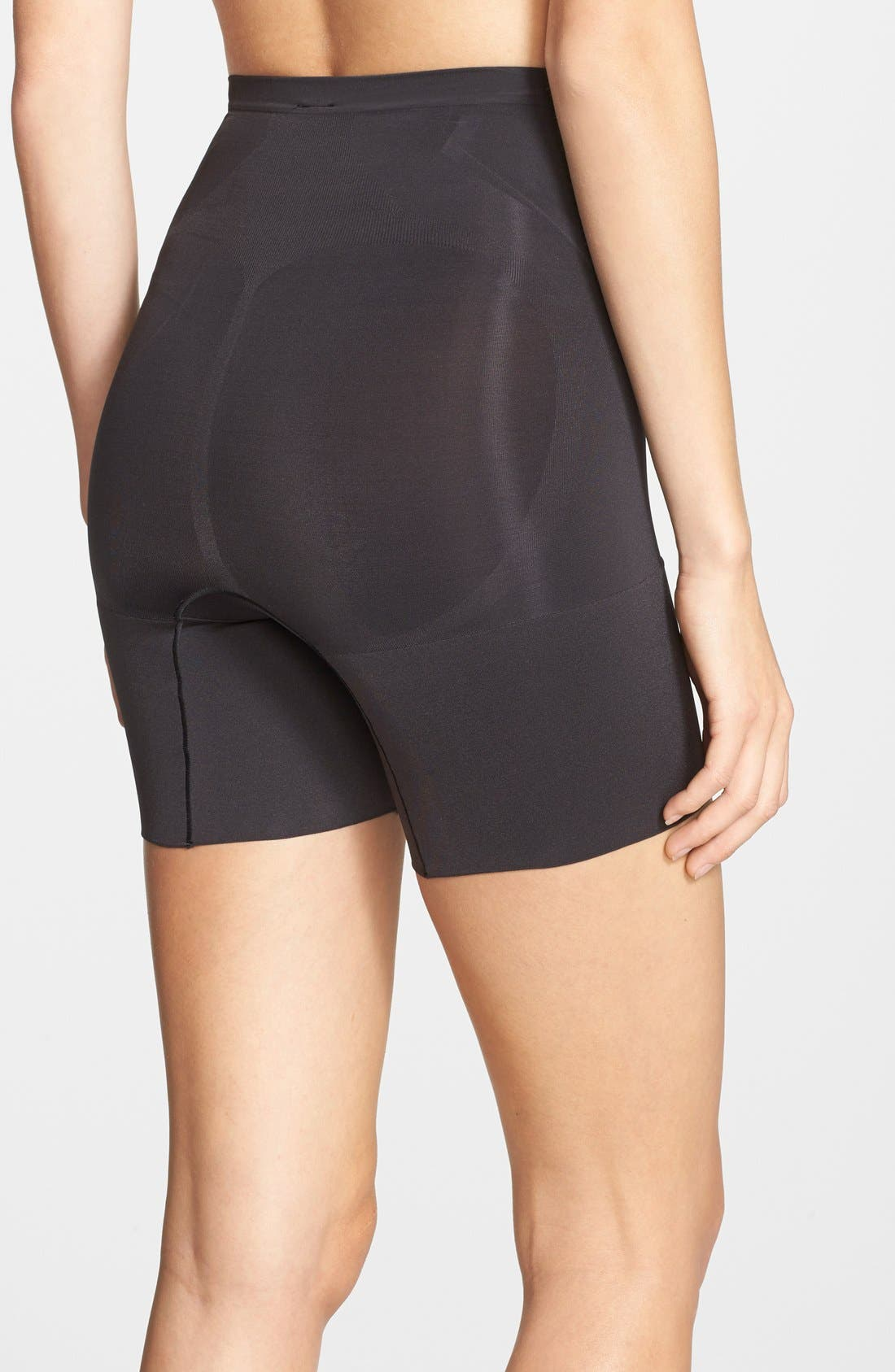SPANX<SUP>®</SUP>, OnCore Mid Thigh Shorts, Alternate thumbnail 8, color, BLACK