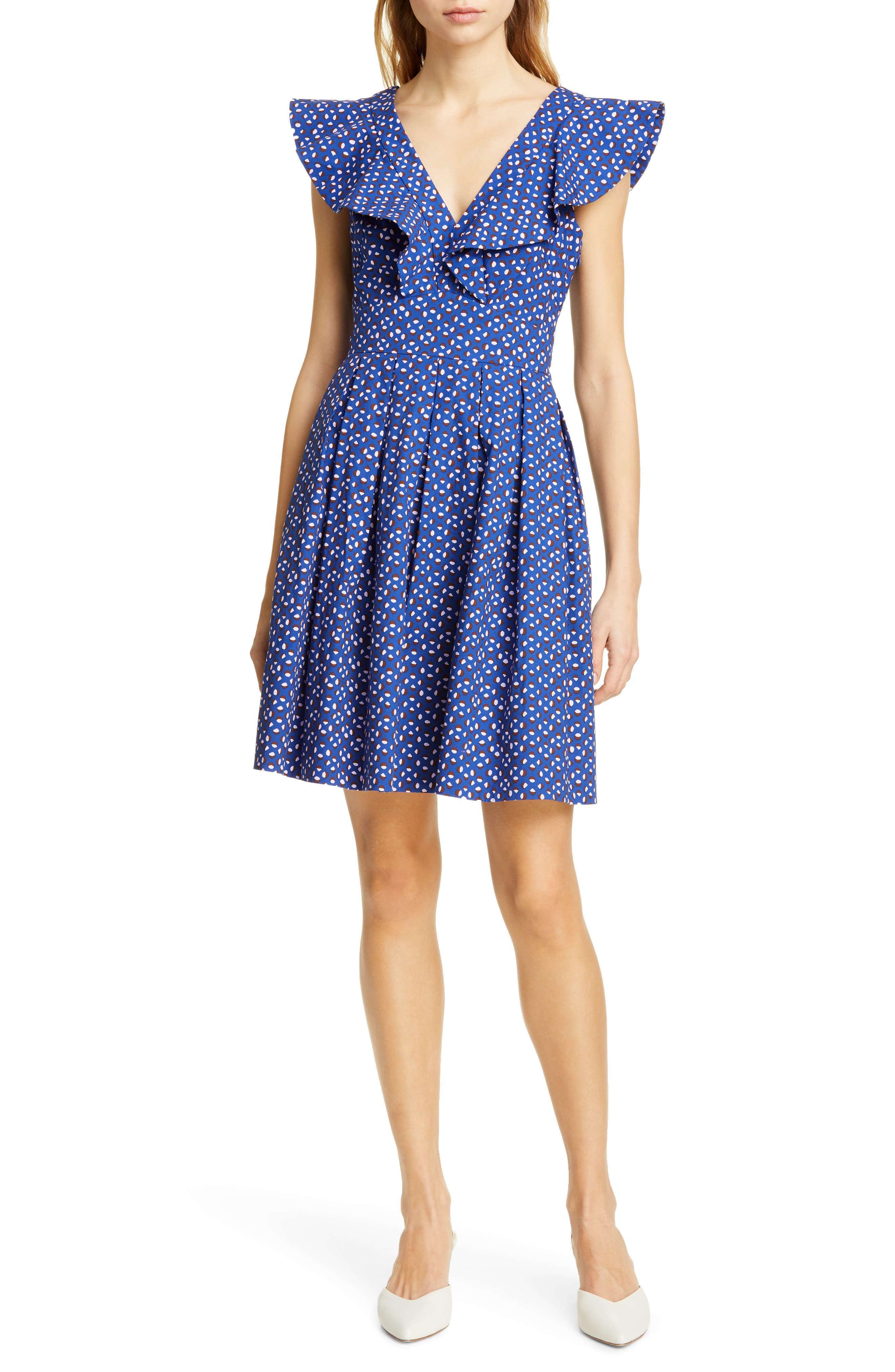 Kate Spade New York Geo Dot Party Dress, Blue