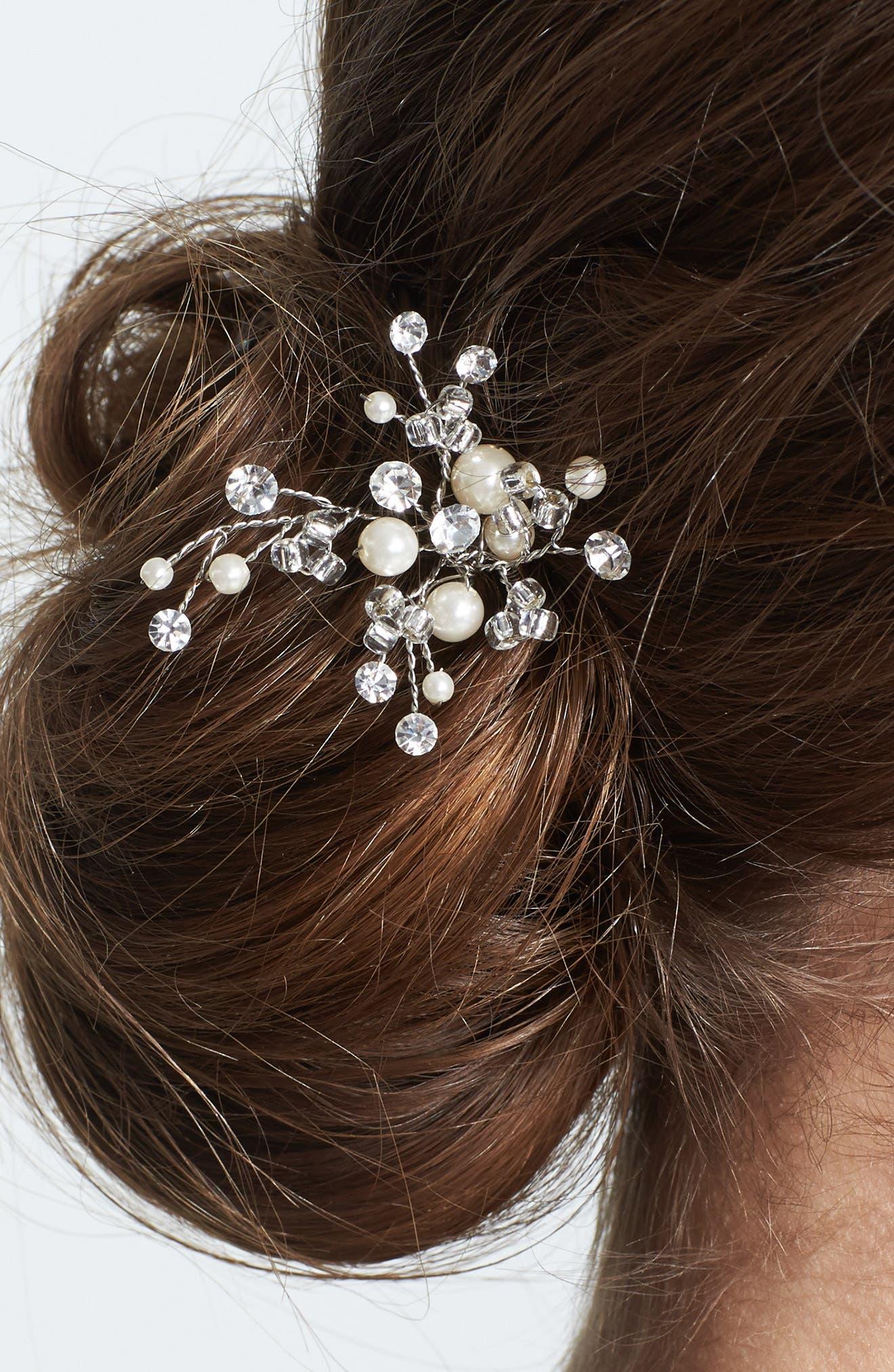 WEDDING BELLES NEW YORK, 'Poppy' Hairpin, Main thumbnail 1, color, SILVER