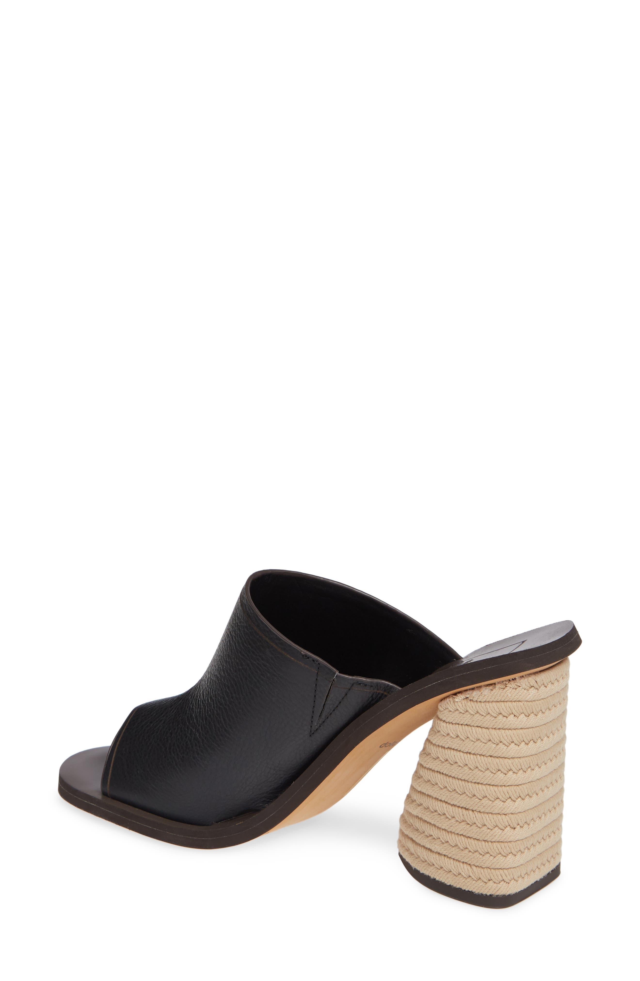 DOLCE VITA, Alba Braided Heel Mule Sandal, Alternate thumbnail 2, color, BLACK LEATHER