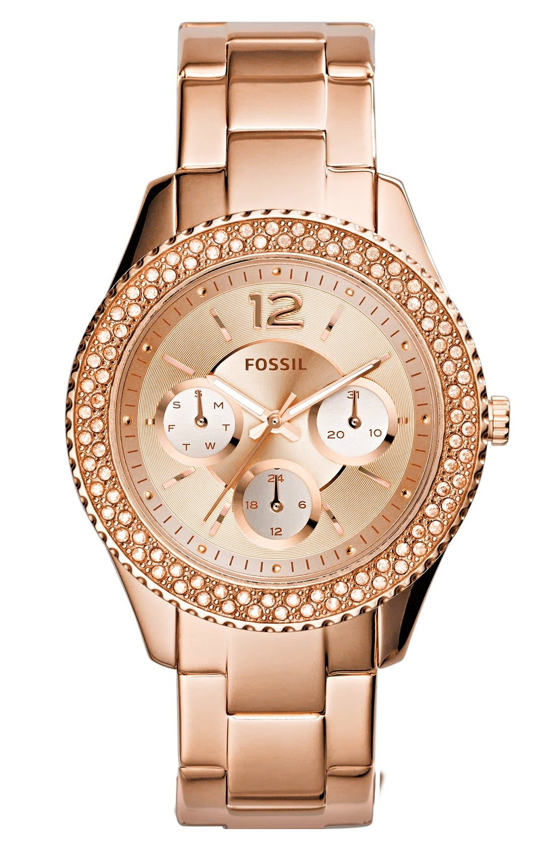 FOSSIL, 'Stella' Crystal Bezel Multifunction Bracelet Watch, 38mm, Main thumbnail 1, color, ROSE GOLD