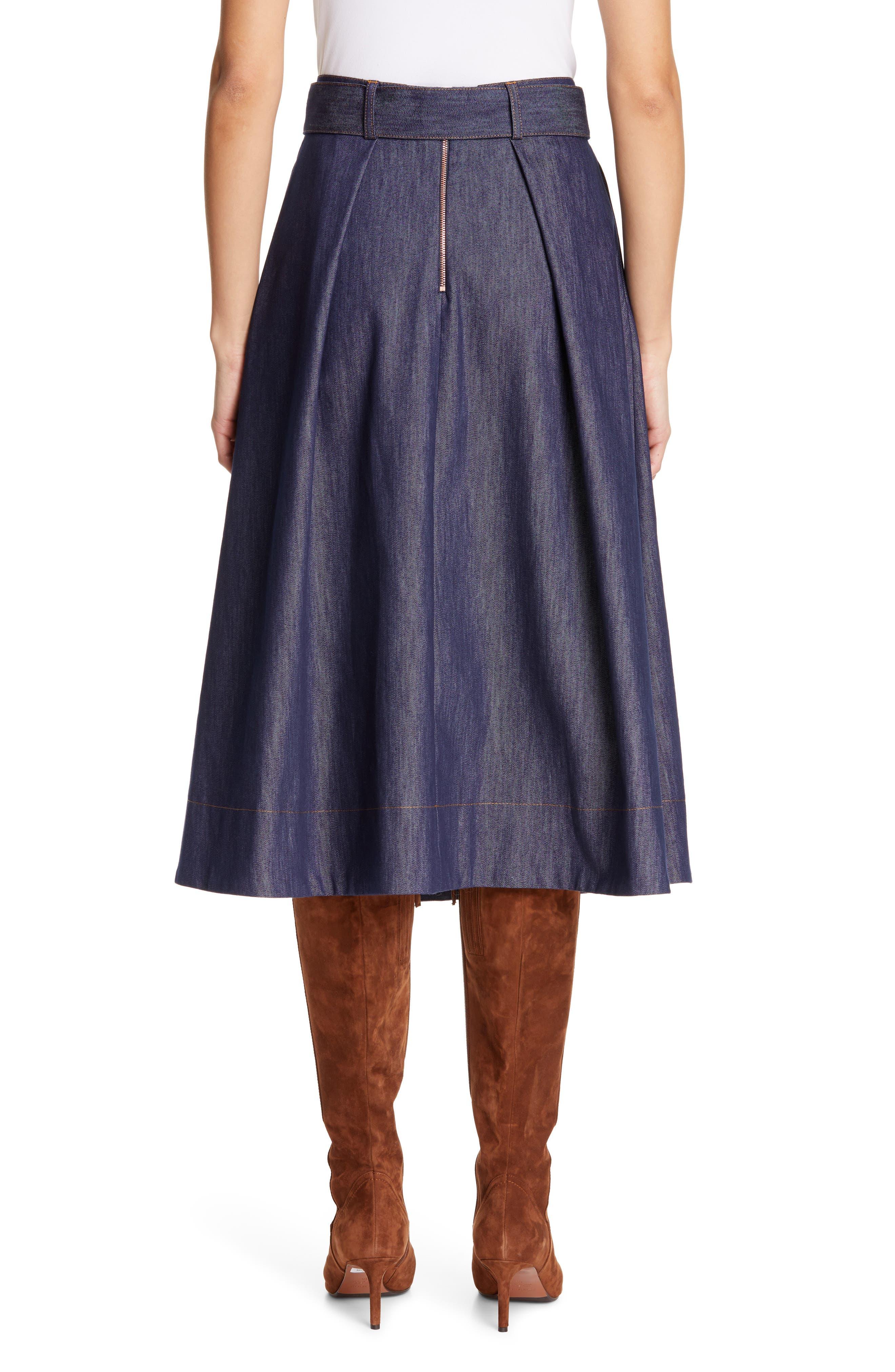 TOMMY X ZENDAYA, Belted Denim Skirt, Alternate thumbnail 2, color, 402