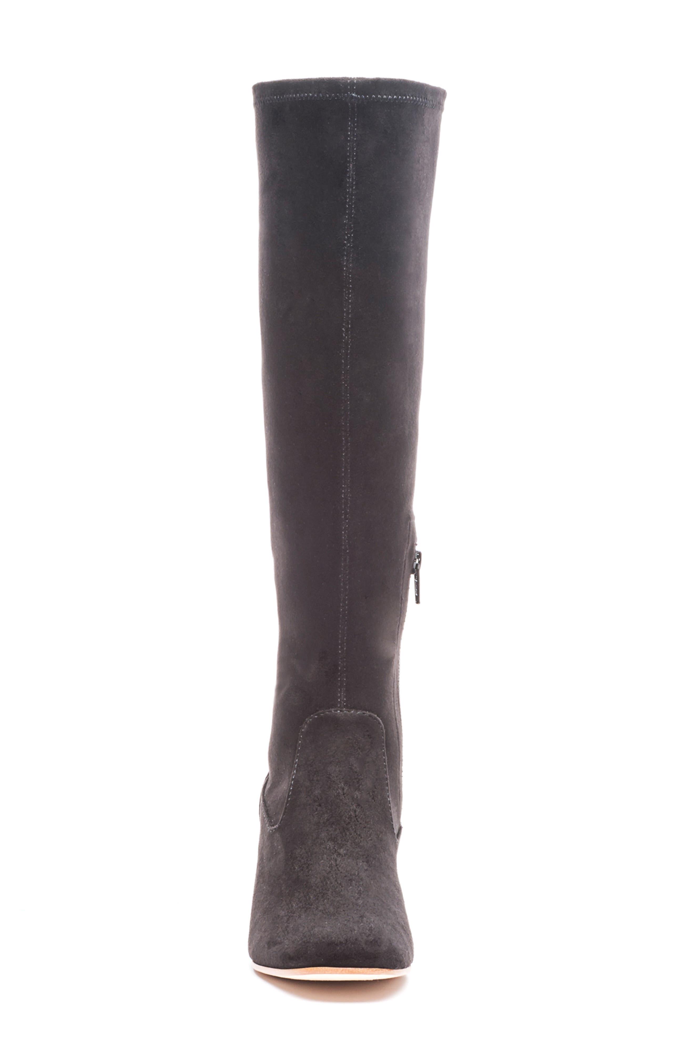 BERNARDO, Knee High Boot, Alternate thumbnail 4, color, BLACK LEATHER