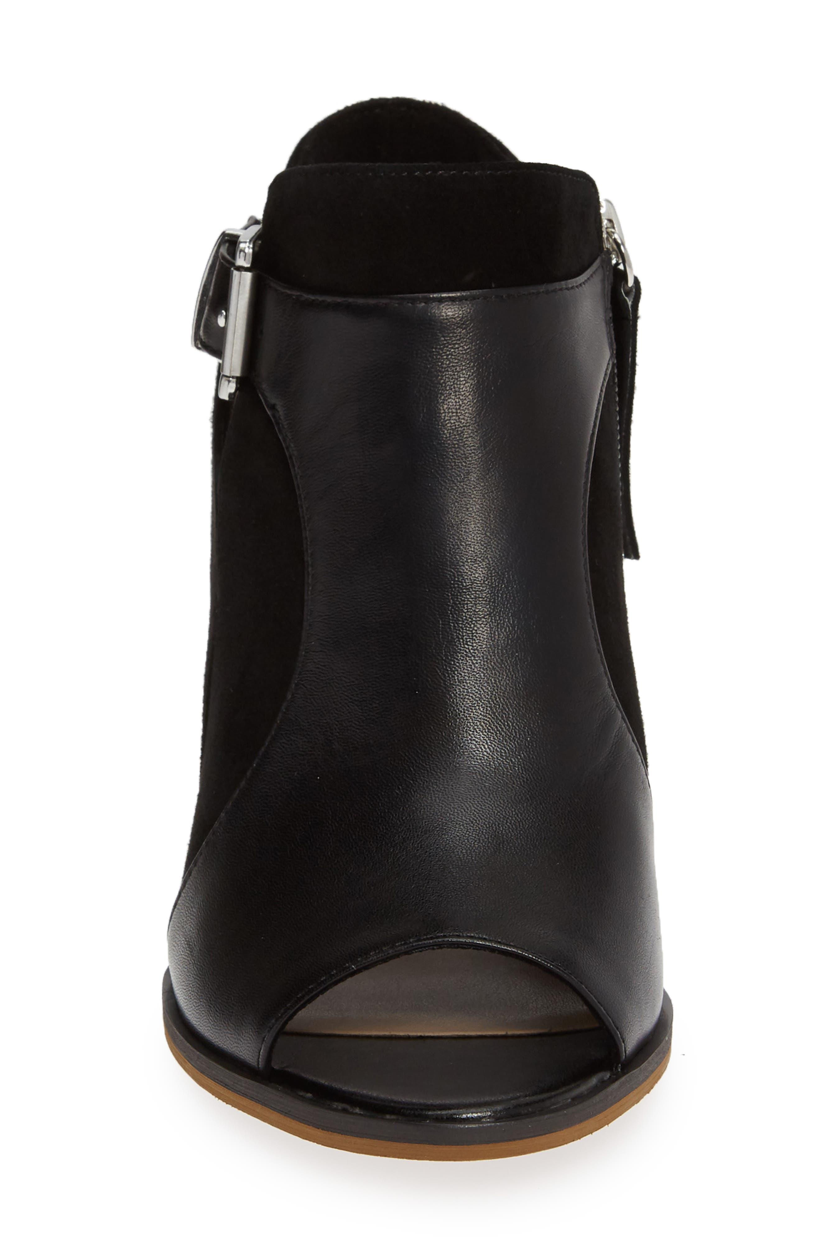 BELLA VITA, Kellan Mixed Finish Sandal, Alternate thumbnail 4, color, BLACK LEATHER/ SUEDE