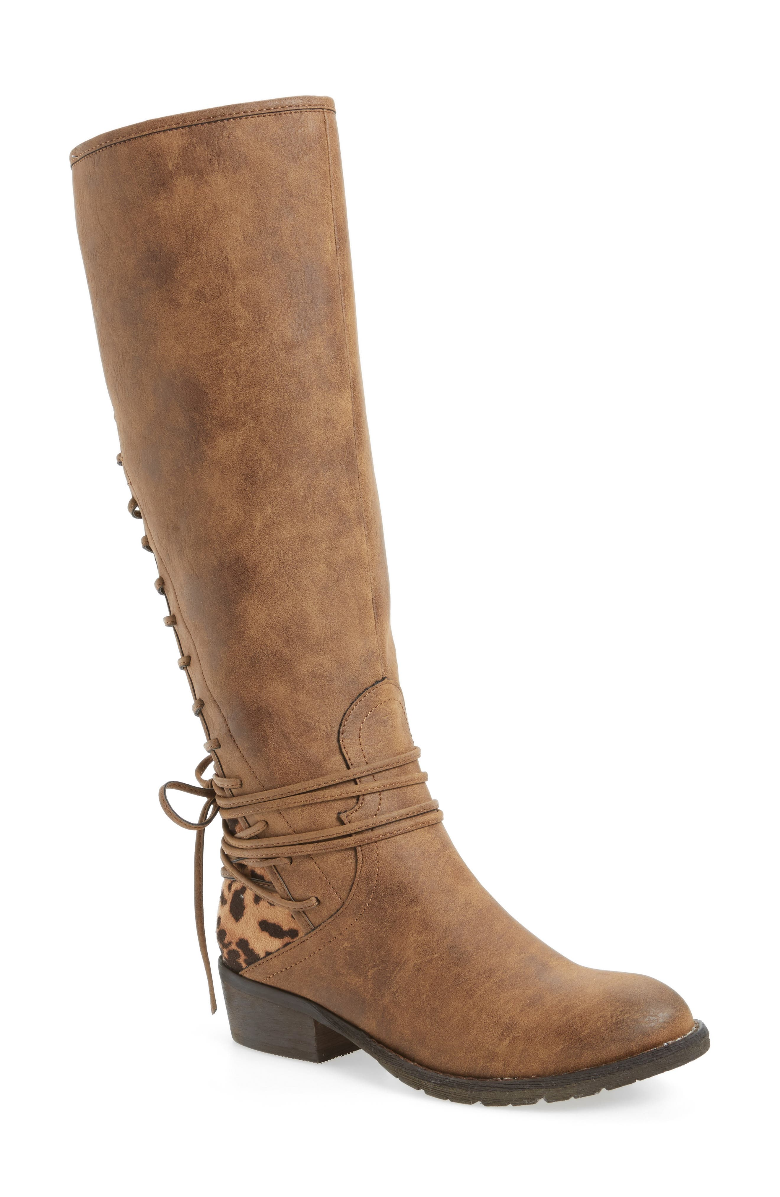 VERY VOLATILE, Marcel Corseted Knee High Boot, Main thumbnail 1, color, TAN FAUX LEATHER