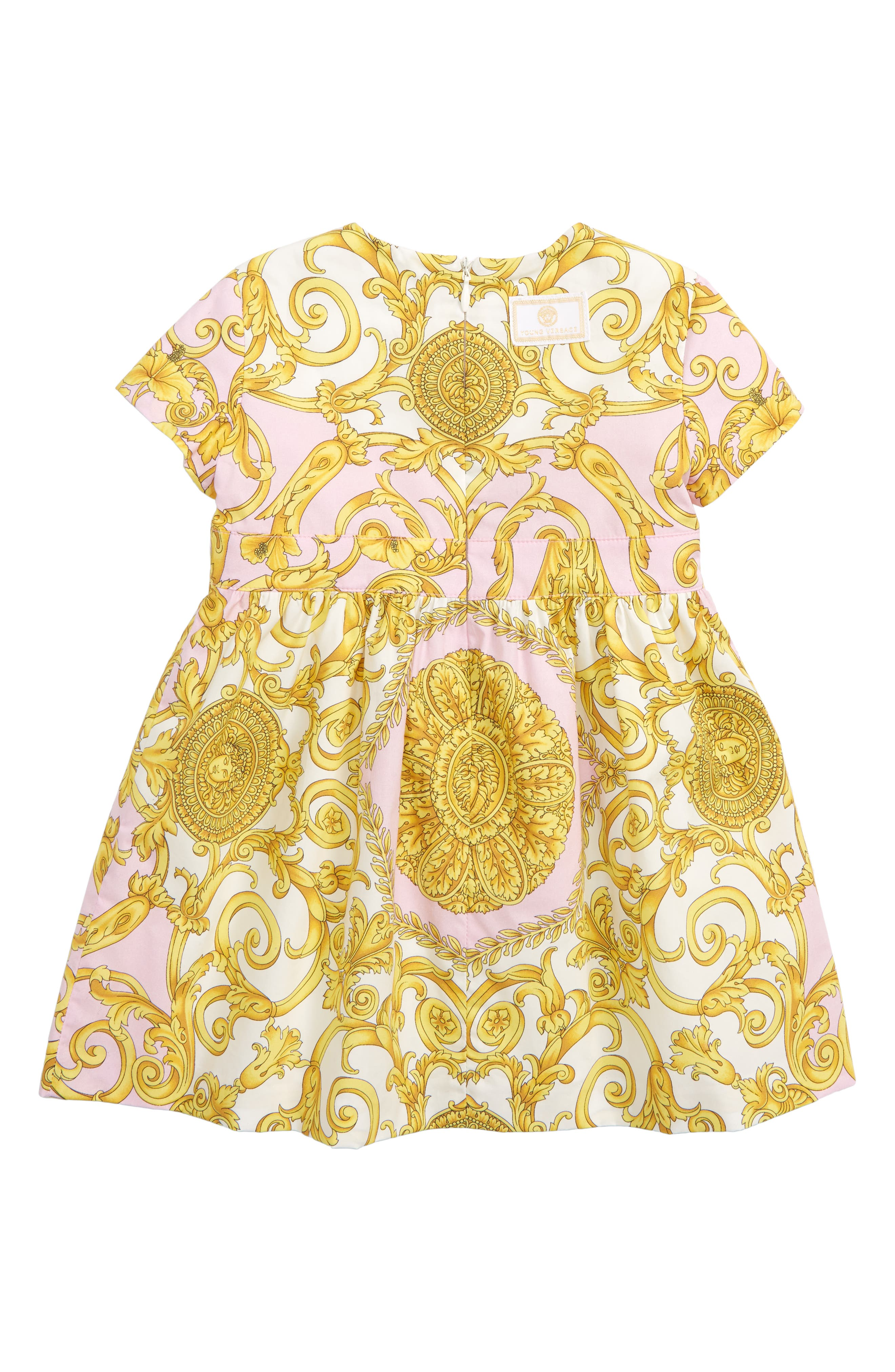 VERSACE, Barocco Print Fit & Flare Dress, Alternate thumbnail 2, color, PINK/ GOLD