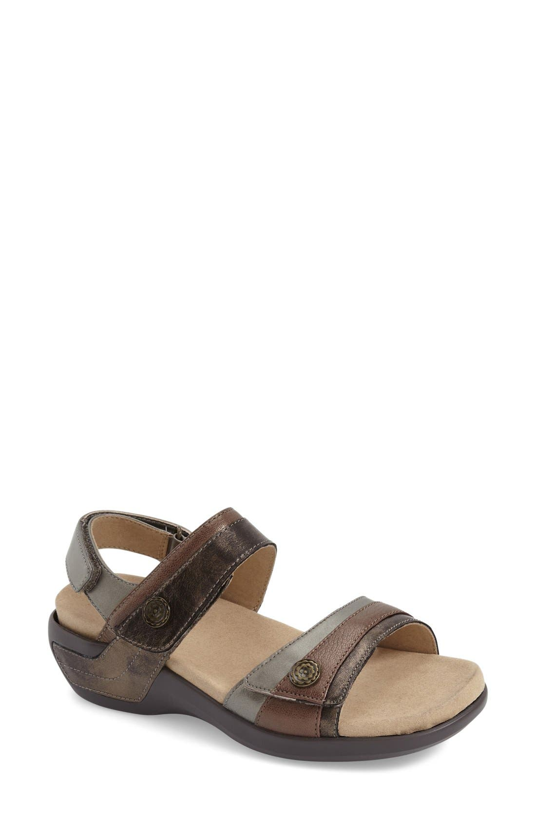 ARAVON, 'Katherine' Sandal, Main thumbnail 1, color, GREY LEATHER