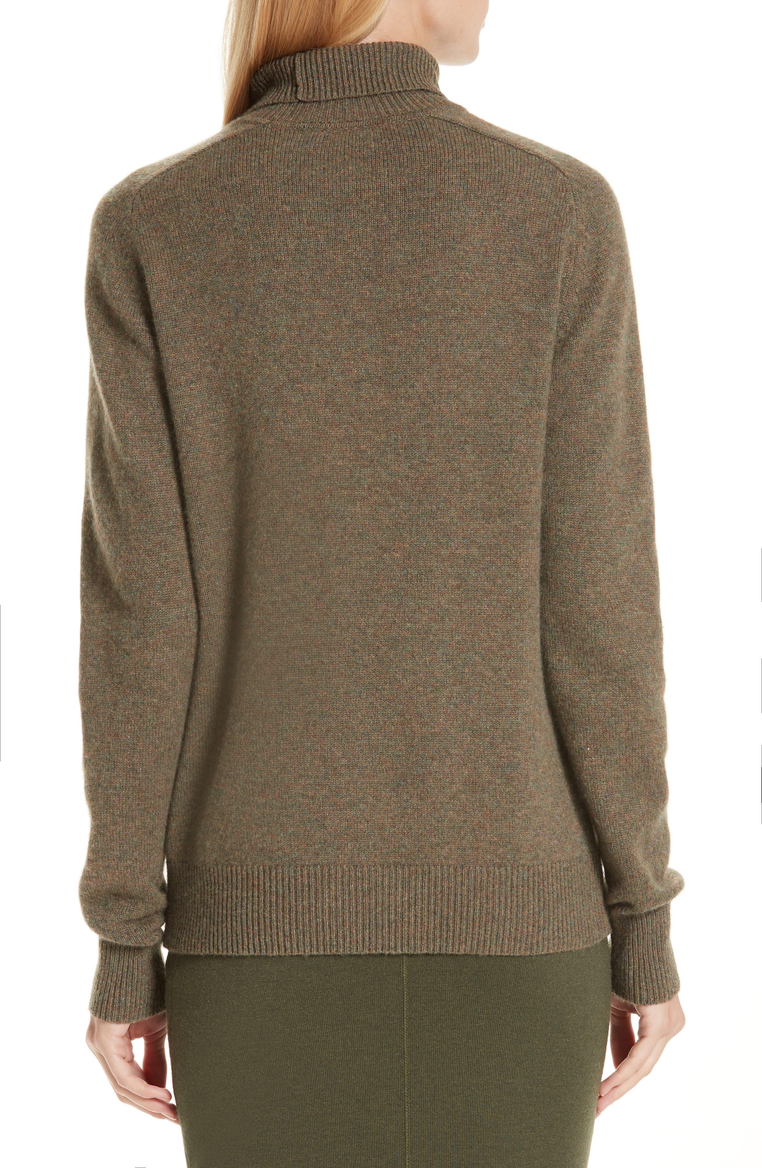 VICTORIA BECKHAM, Stretch Cashmere Turtleneck Sweater, Alternate thumbnail 2, color, OLIVE