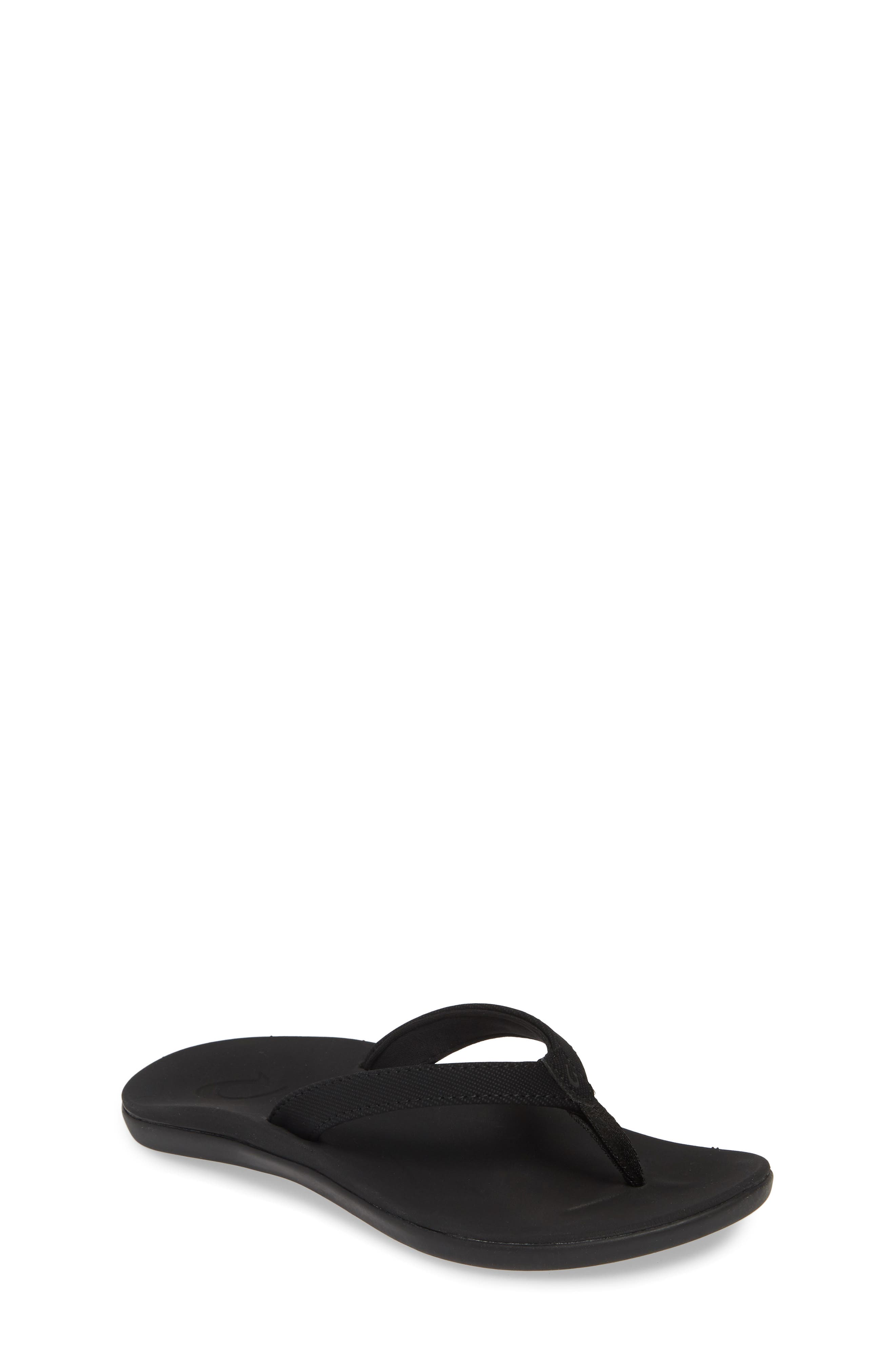 OLUKAI Ho'opio Flip Flop, Main, color, BLACK/ BLACK