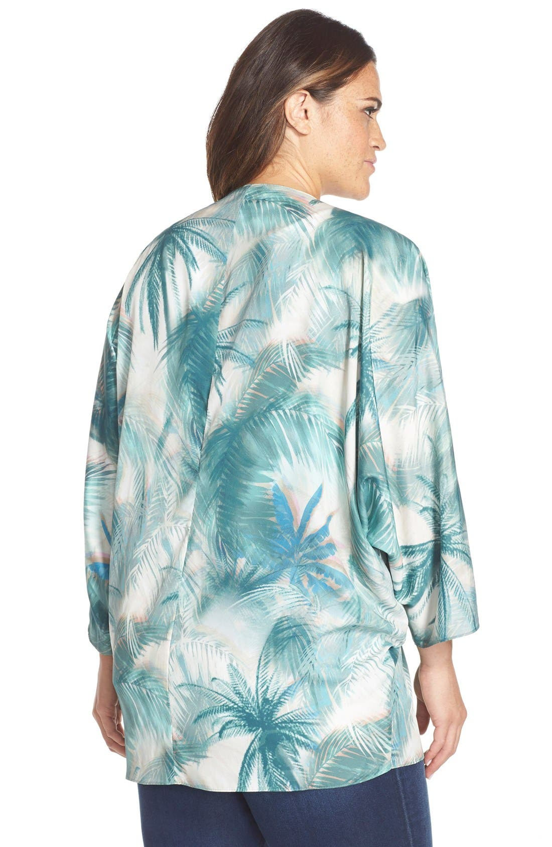 CJ BY COOKIE JOHNSON, Palm Tree Print Kimono, Alternate thumbnail 3, color, 380