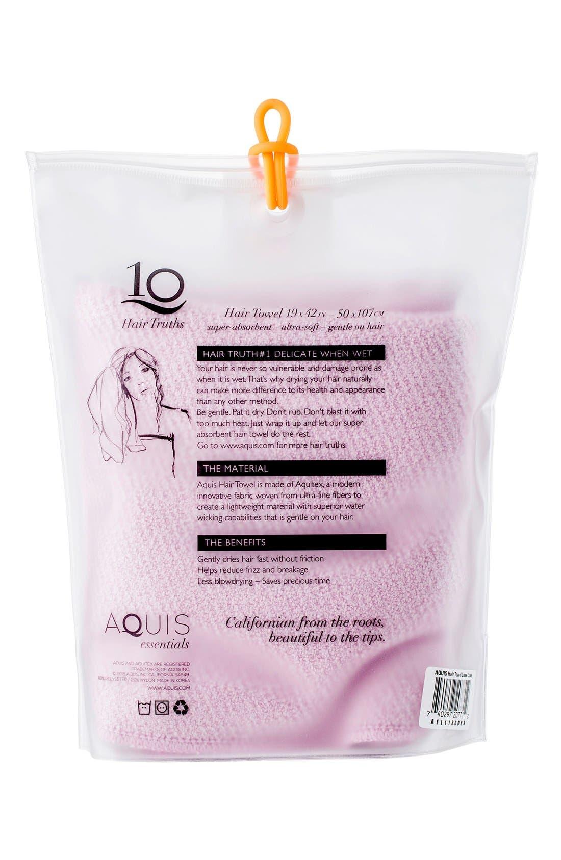 AQUIS, Lisse Luxe Desert Rose Hair Towel, Alternate thumbnail 3, color, DESERT ROSE