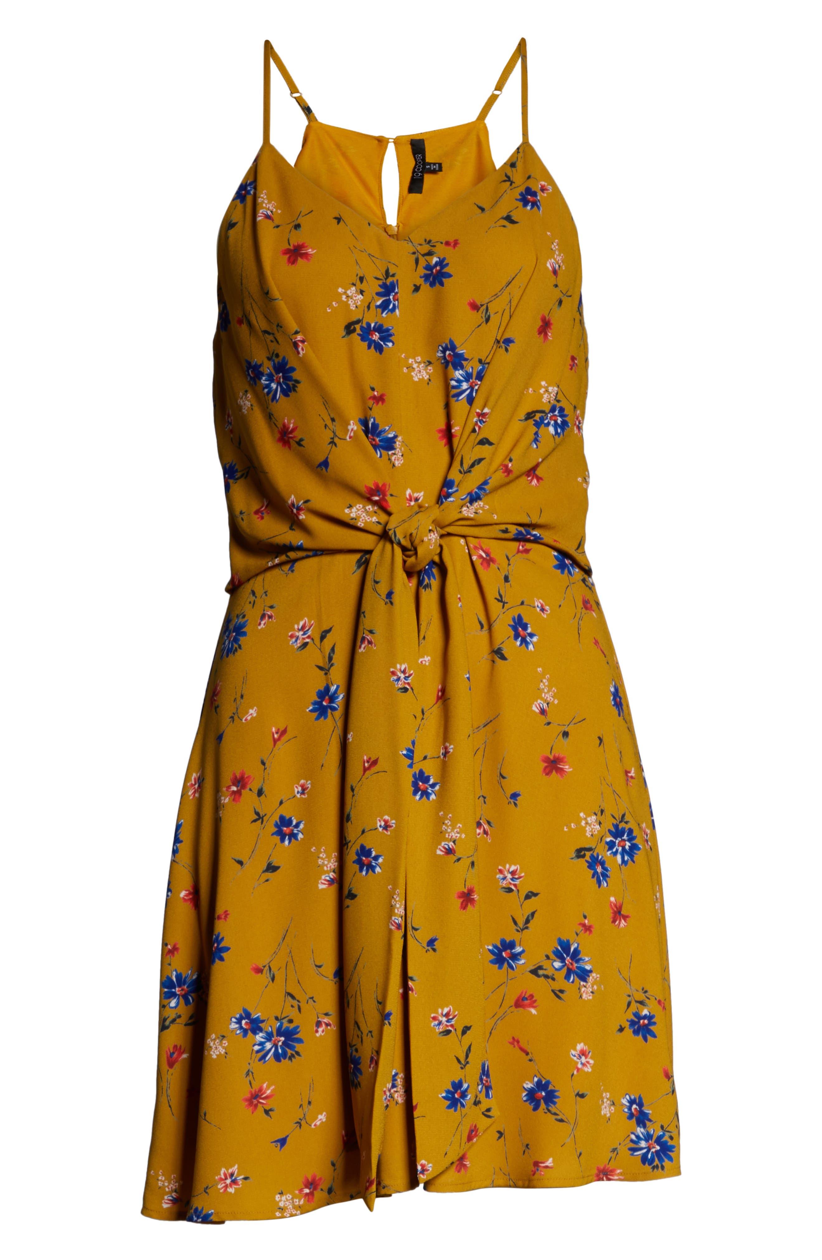 19 COOPER, Floral Print Tie Front Dress, Alternate thumbnail 7, color, MUSTARD FLORAL