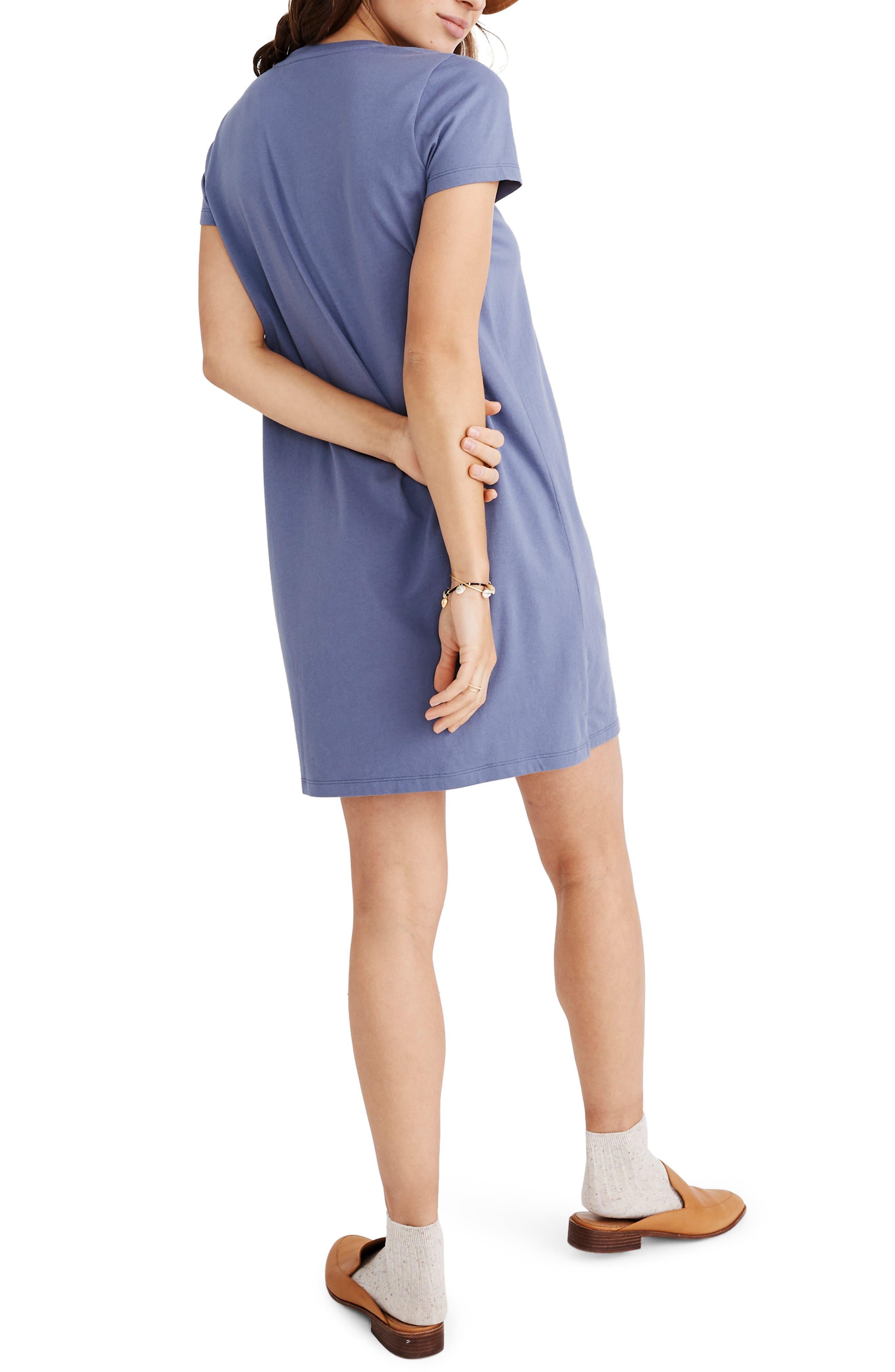 MADEWELL, Northside V-Neck T-Shirt Dress, Alternate thumbnail 2, color, PALE SHADOW
