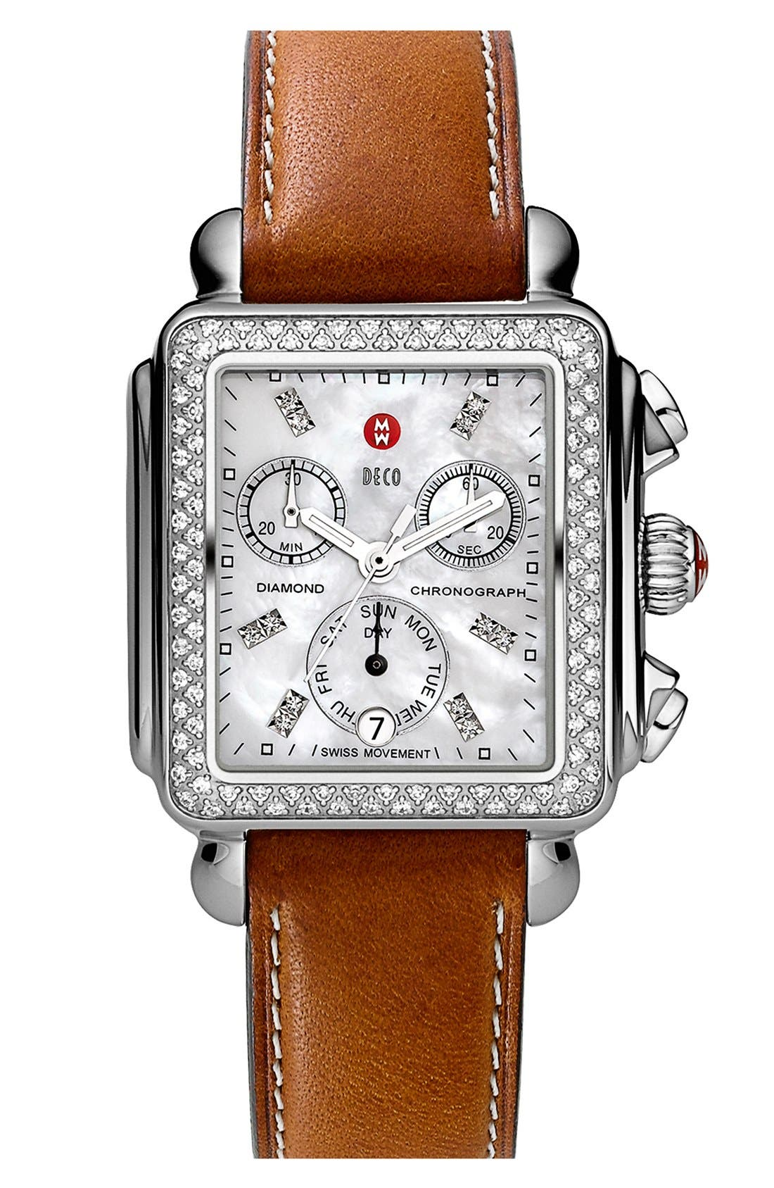 MICHELE, Deco Diamond Diamond Dial Watch Head, 33mm x 35mm, Alternate thumbnail 6, color, SILVER